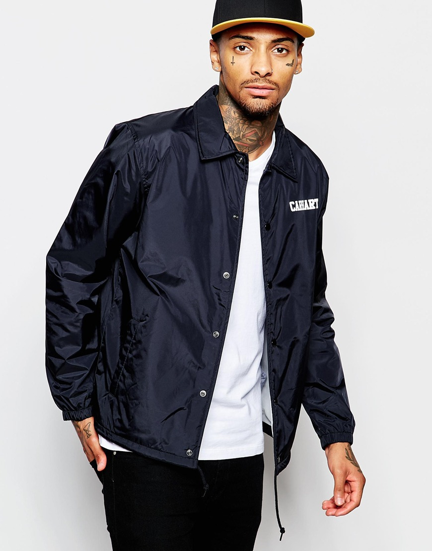Carhartt wip coach jacket in black for men lyst for Coach jacket
