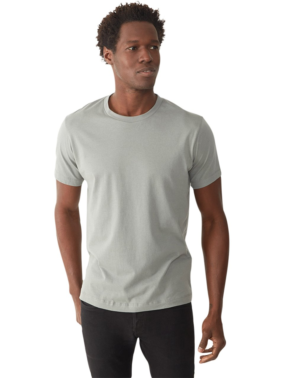 Alternative apparel basic mens crew t shirt in metallic for Silver jeans t shirts