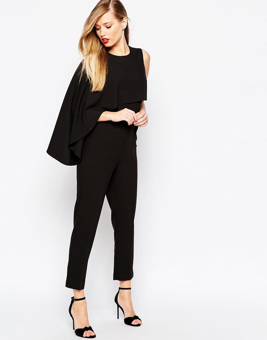 Lyst Asos Asymmetric Cape Jumpsuit Black In Black