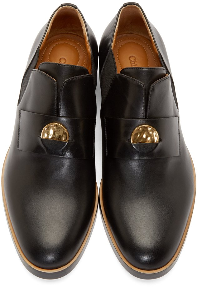 Chlo 233 Black Leather Penny Loafers In Black Lyst