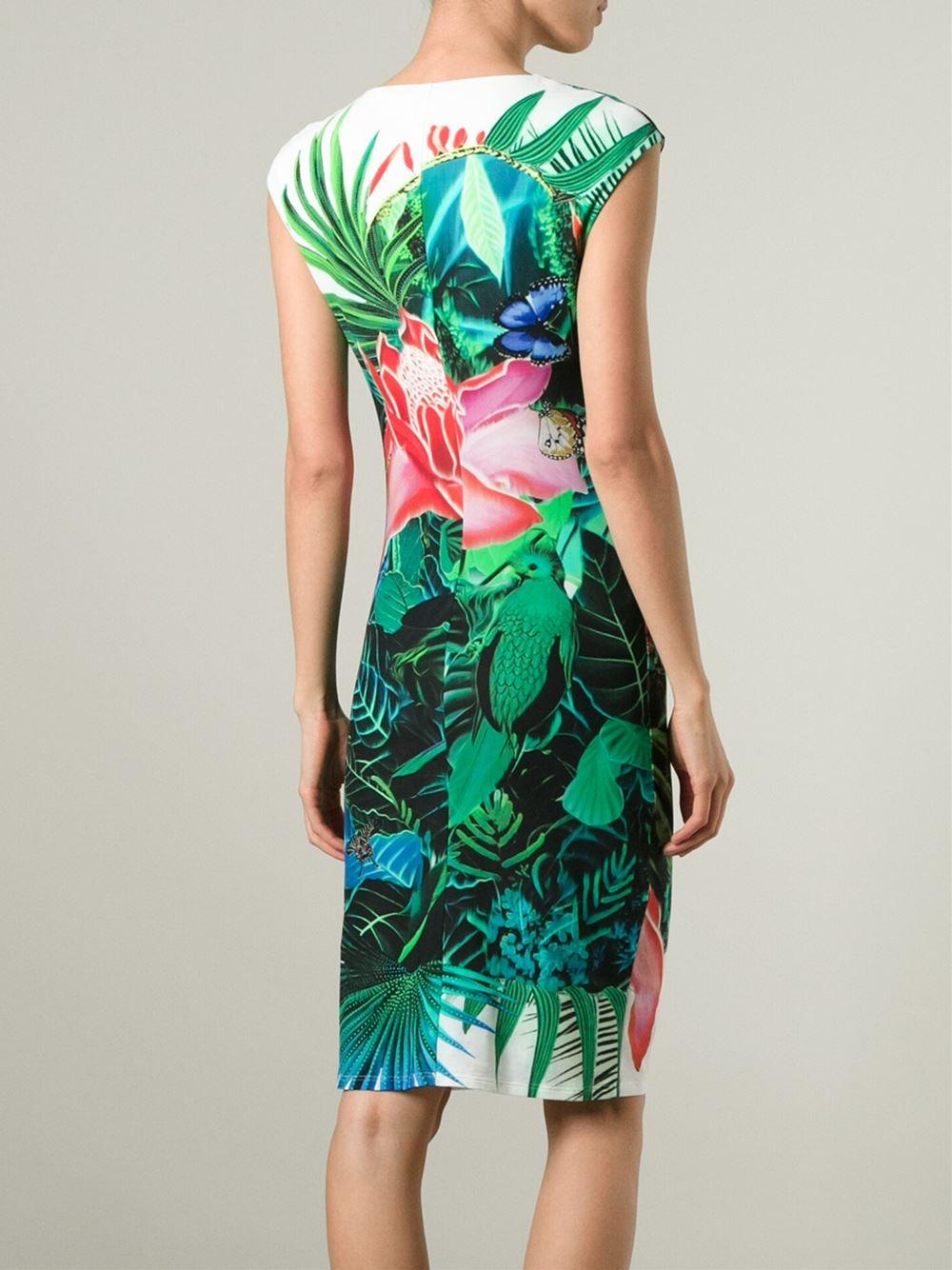 Roberto Cavalli Tropical Print Dress In Blue Lyst