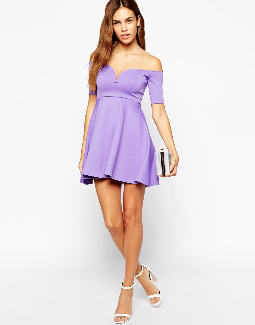 8044f452ff44 Lyst - Oh My Love Off Shoulder Skater Dress in Purple