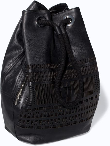 Zara Leather Bucket Bag With Cut Work Detail In Black Lyst
