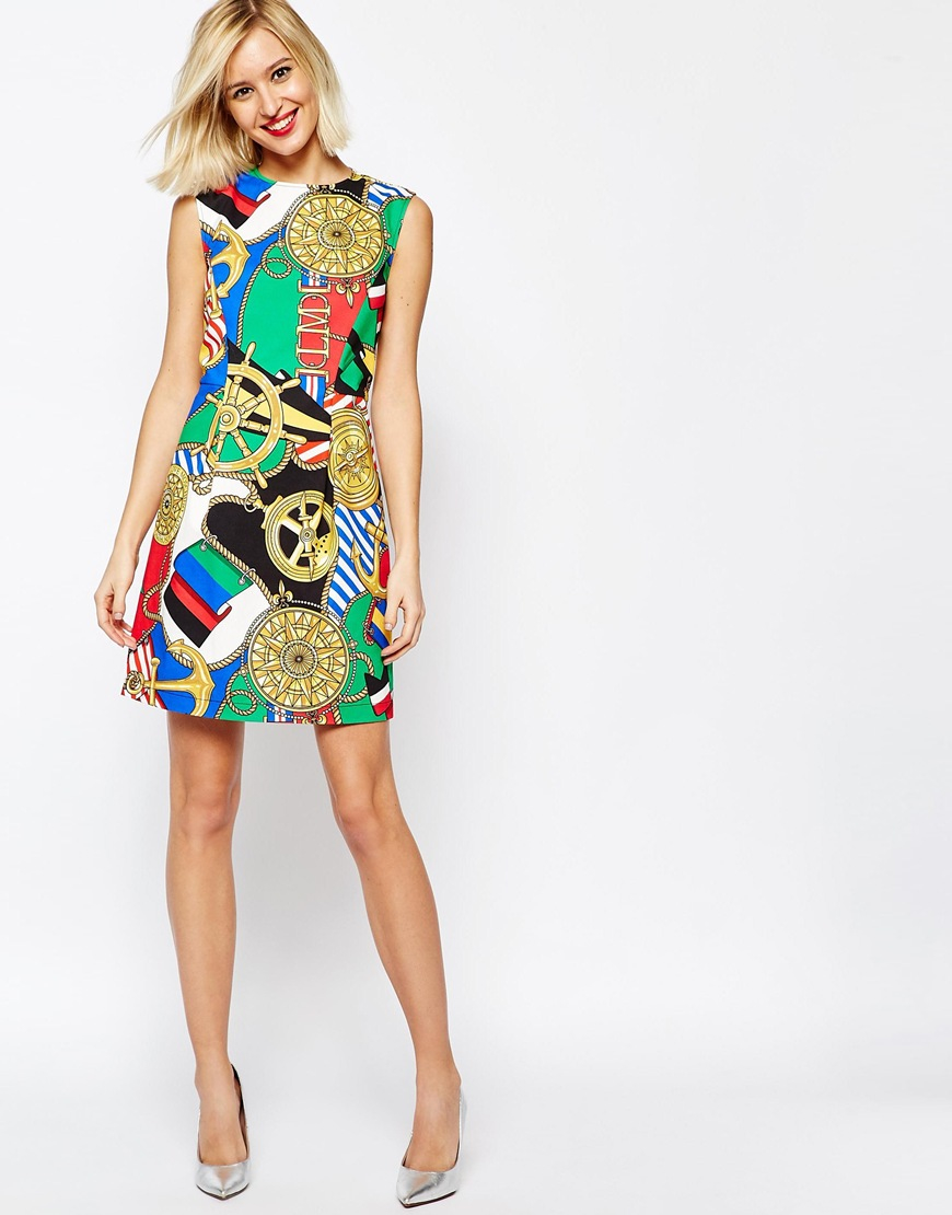 2e6c53d5fee12 Lyst - Love Moschino Sleeveless Dress In Archive Print