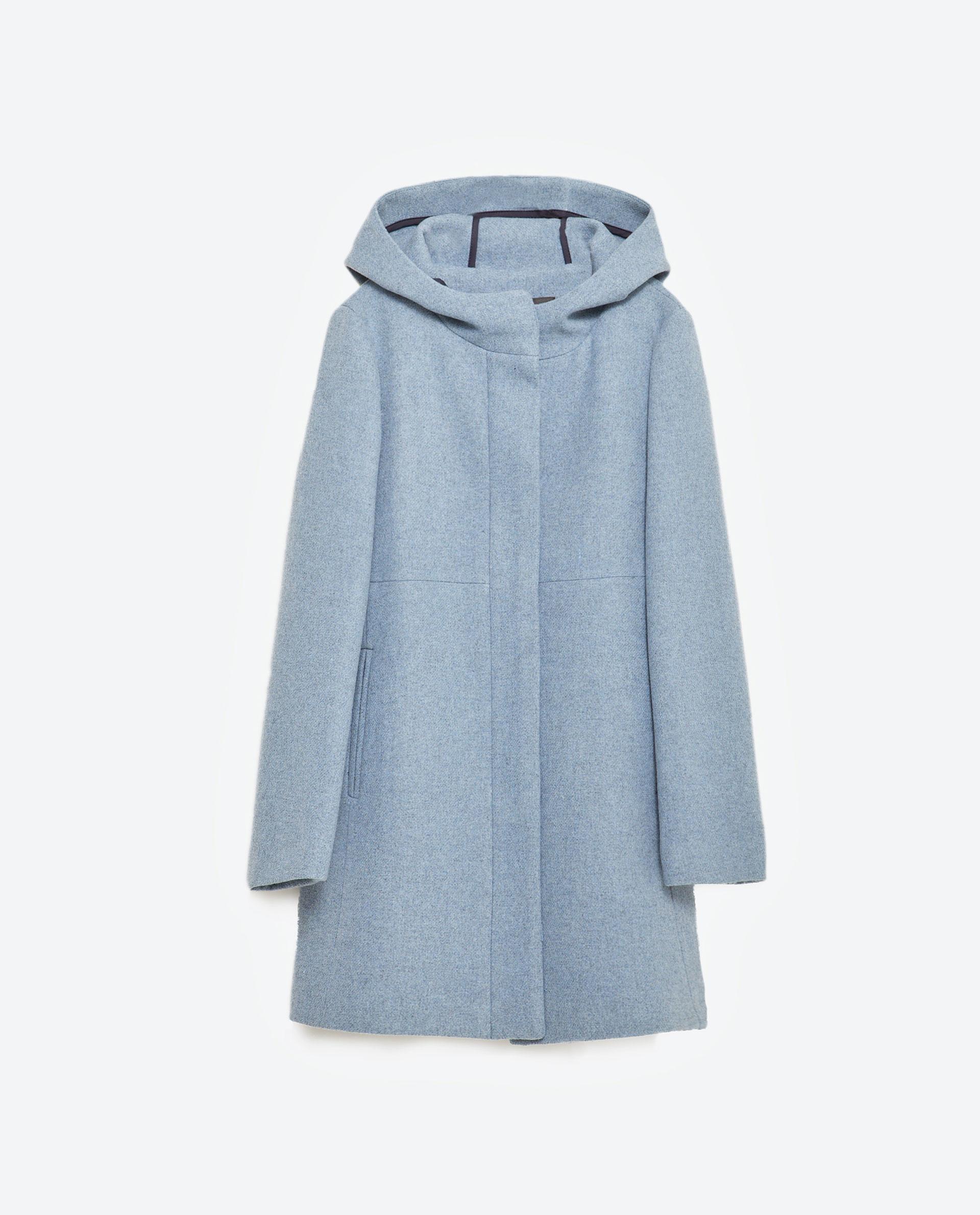 Zara Wool Coat With Hood in Blue | Lyst