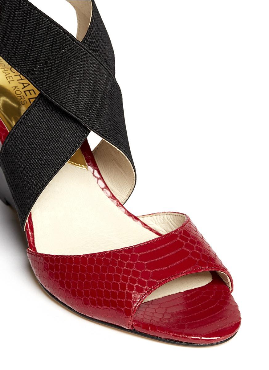 Lyst Michael Kors Meadow Snakeskin Effect Leather