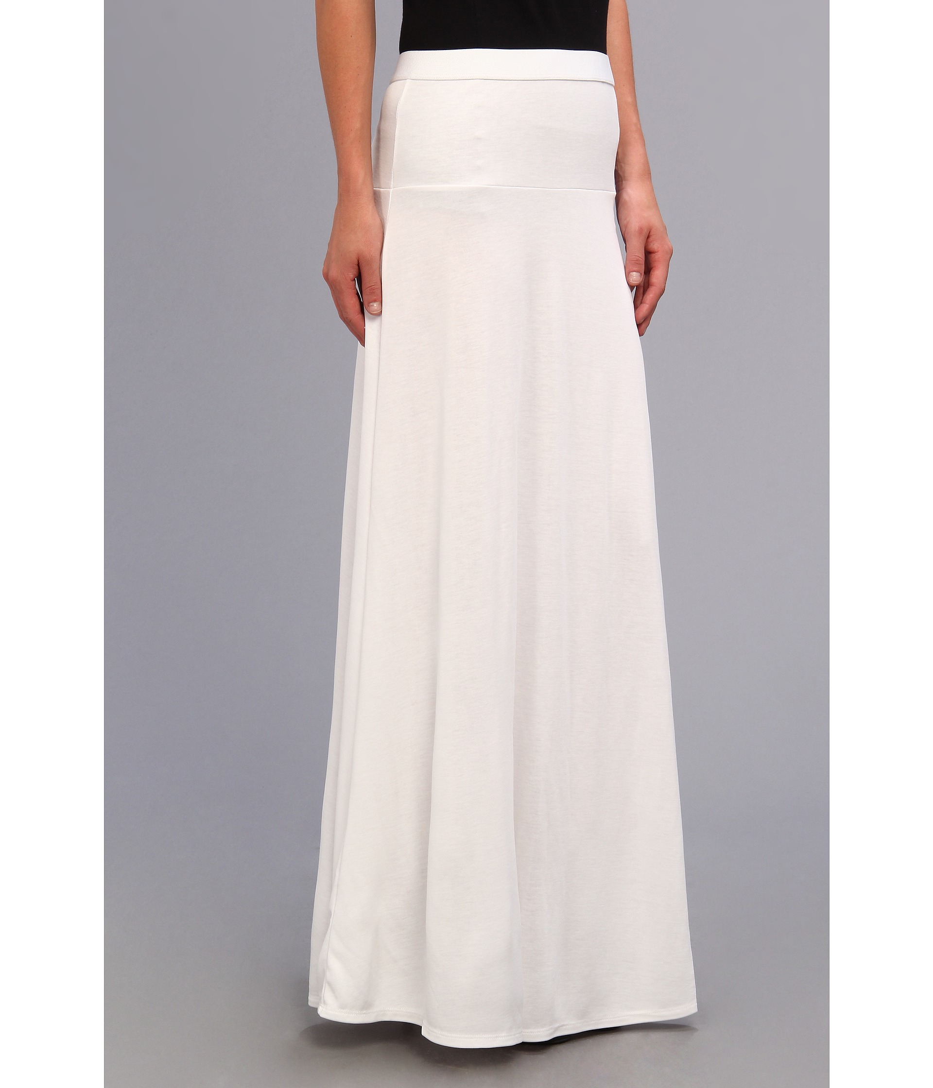 bcbgmaxazria jaymee wide banded maxi skirt in white lyst