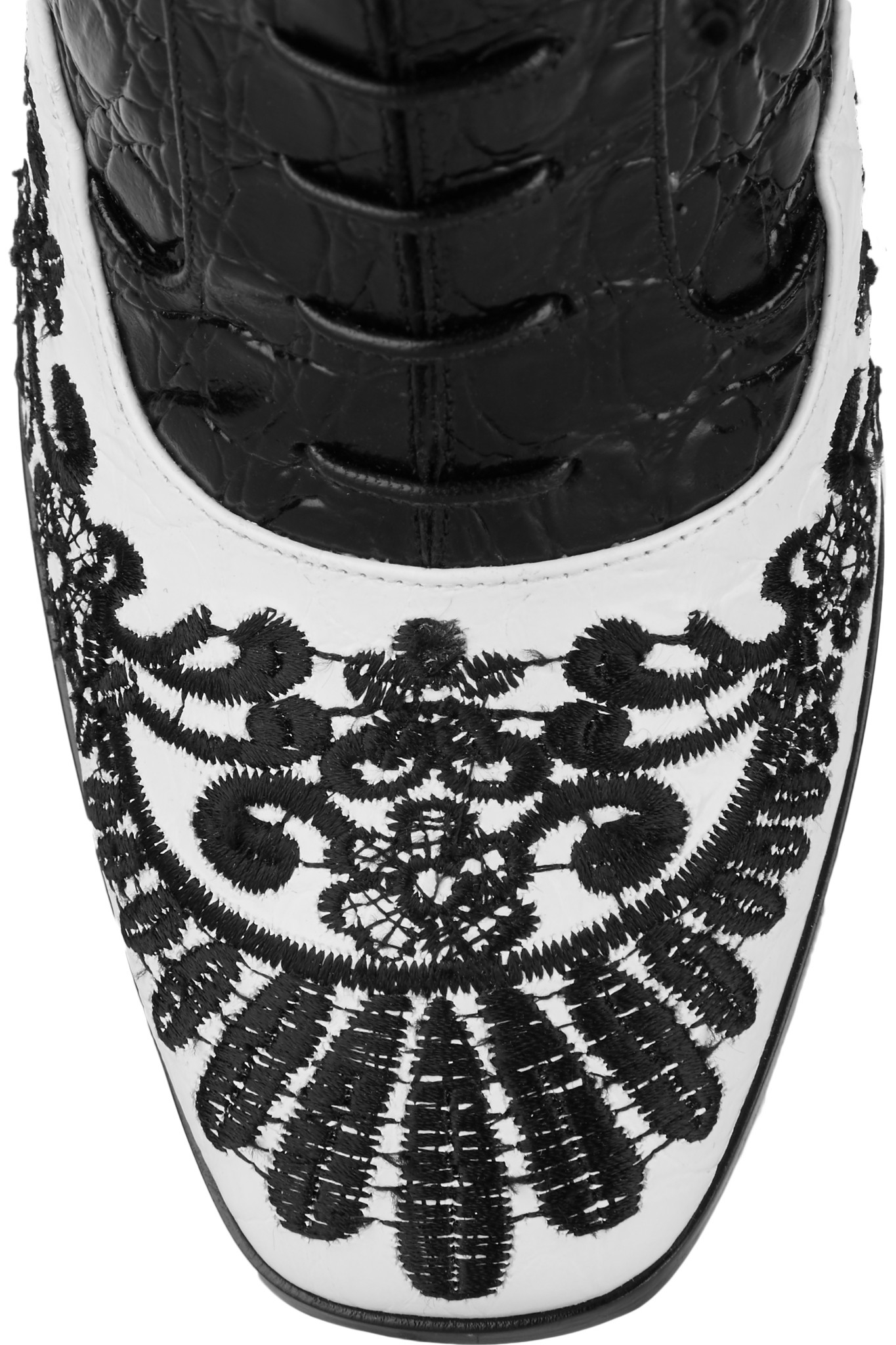 Nicholas Kirkwood + Erdem Embroidered Matte And Croc-effect Leather Ankle Boots in Black