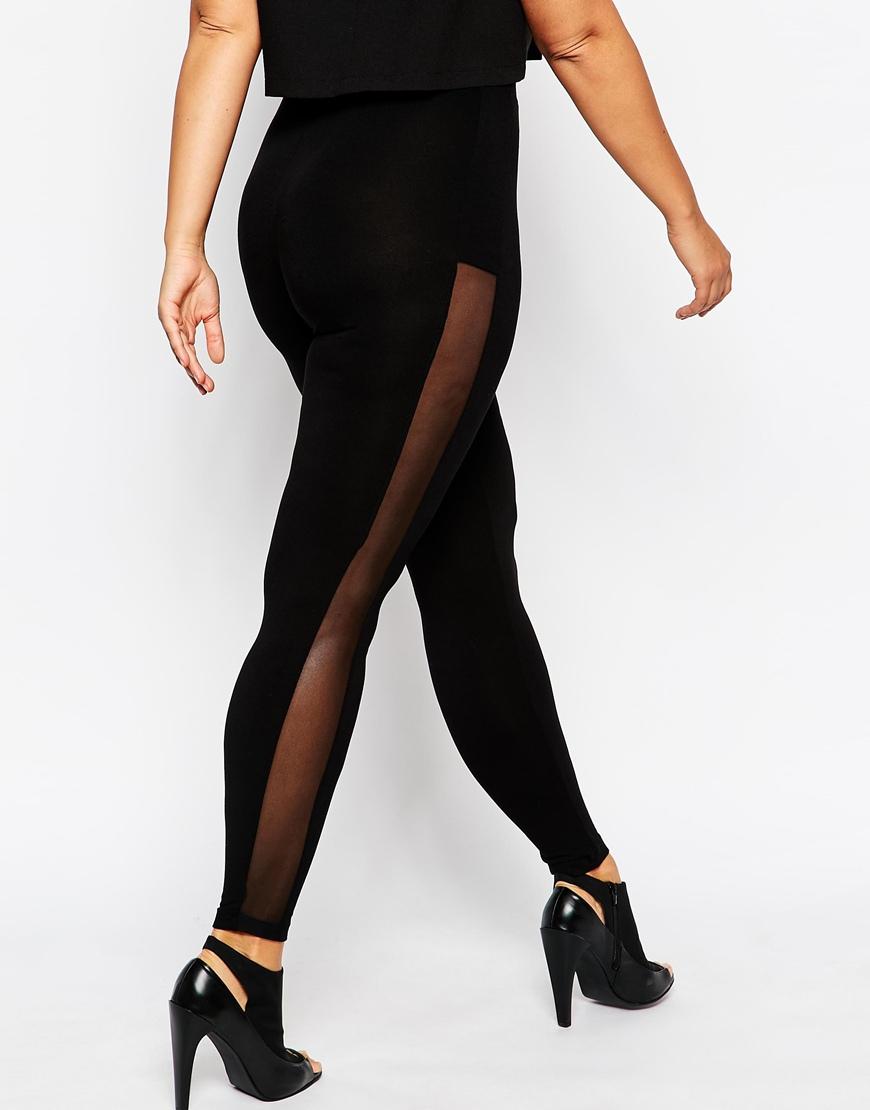 Black Leggings With Mesh Side Panels
