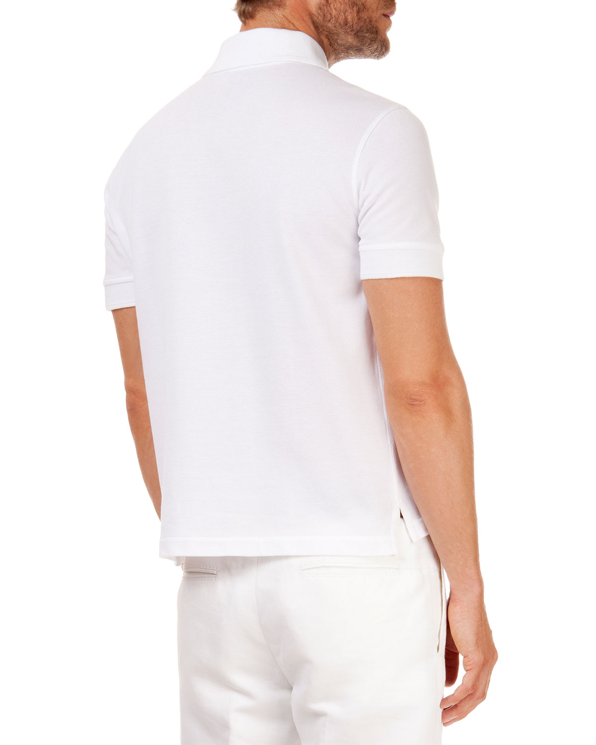 Berluti leather detail polo shirt in white for men lyst for Mens white leather shirt