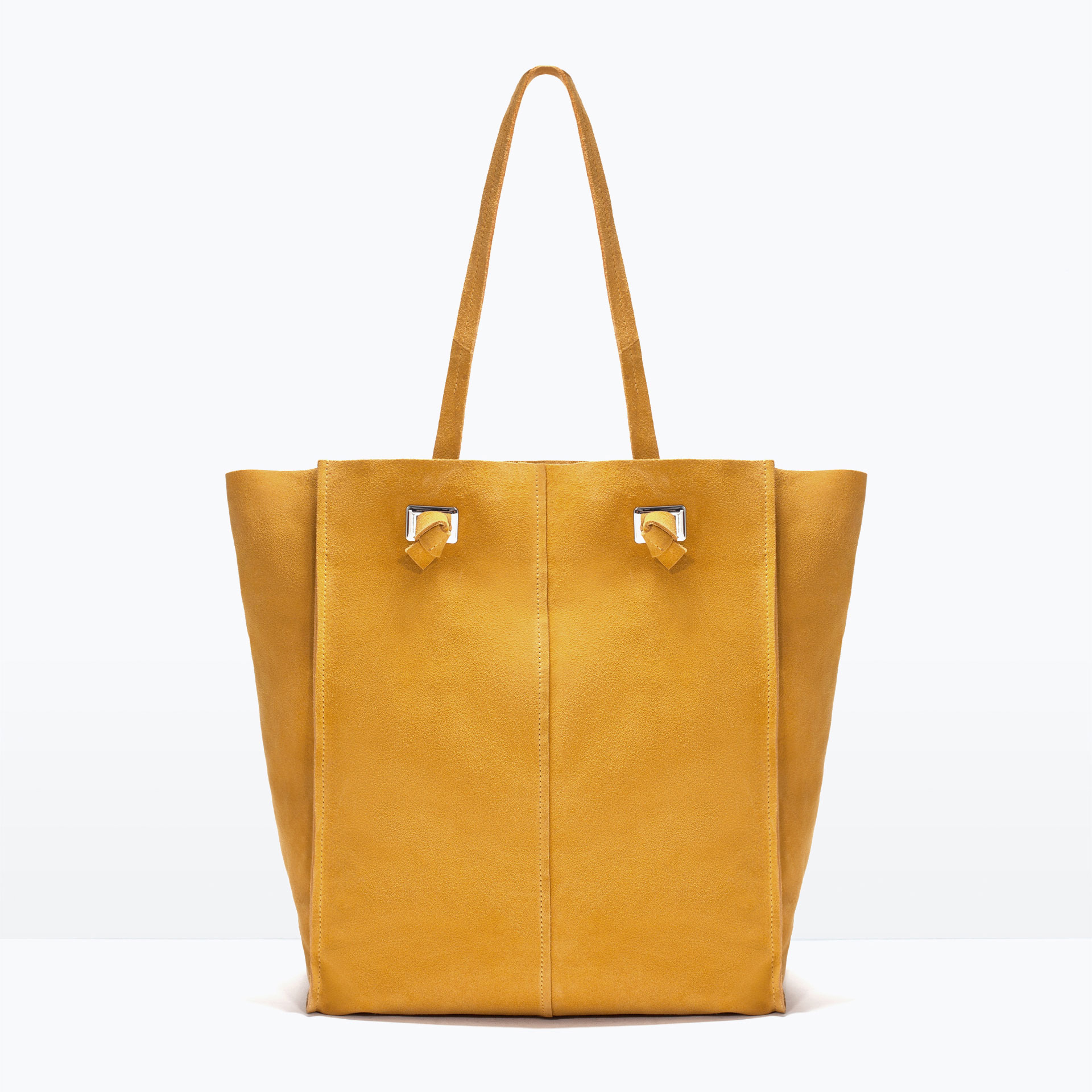 Zara Suede Shopper Bag in Yellow (Mustard) | Lyst