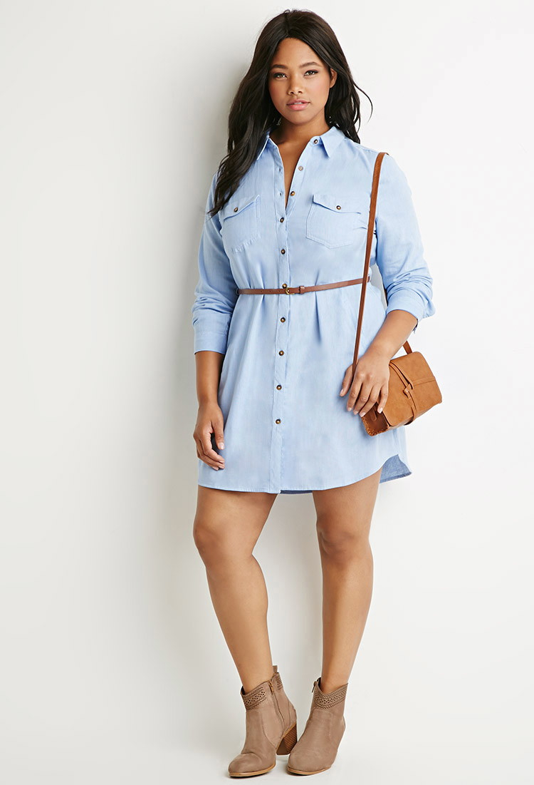Forever 21 belted chambray shirt dress in blue lyst for Belted chambray shirt dress