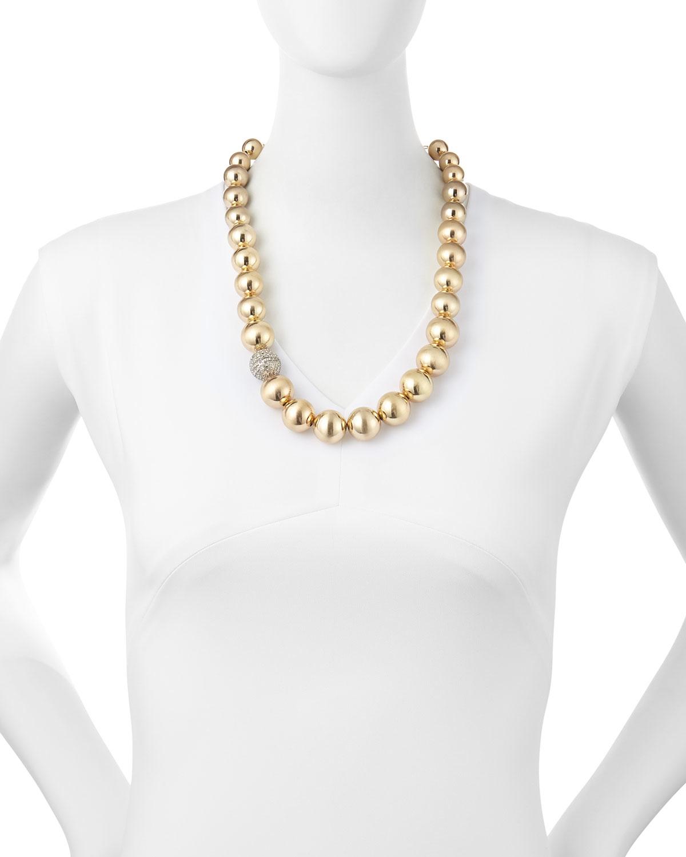 r j graziano metallic beaded necklace in metallic lyst