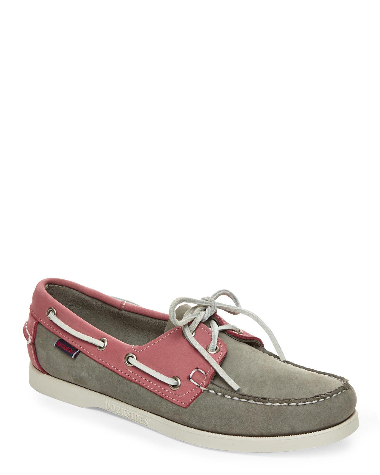 sebago grey pink dockside boat shoes in gray lyst