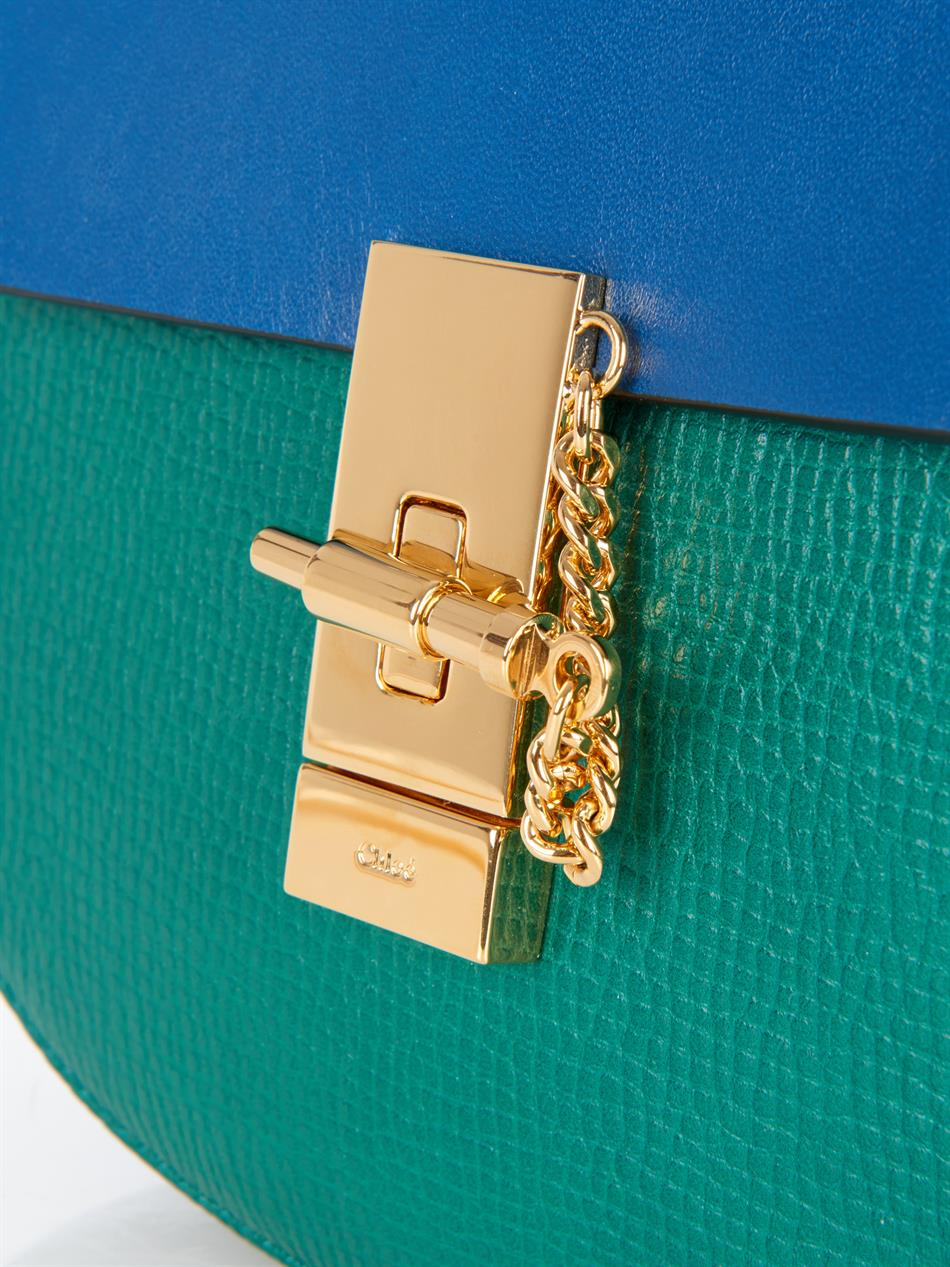 Chloe Blue And Green Bicolor Drew Small Crossbody Bag