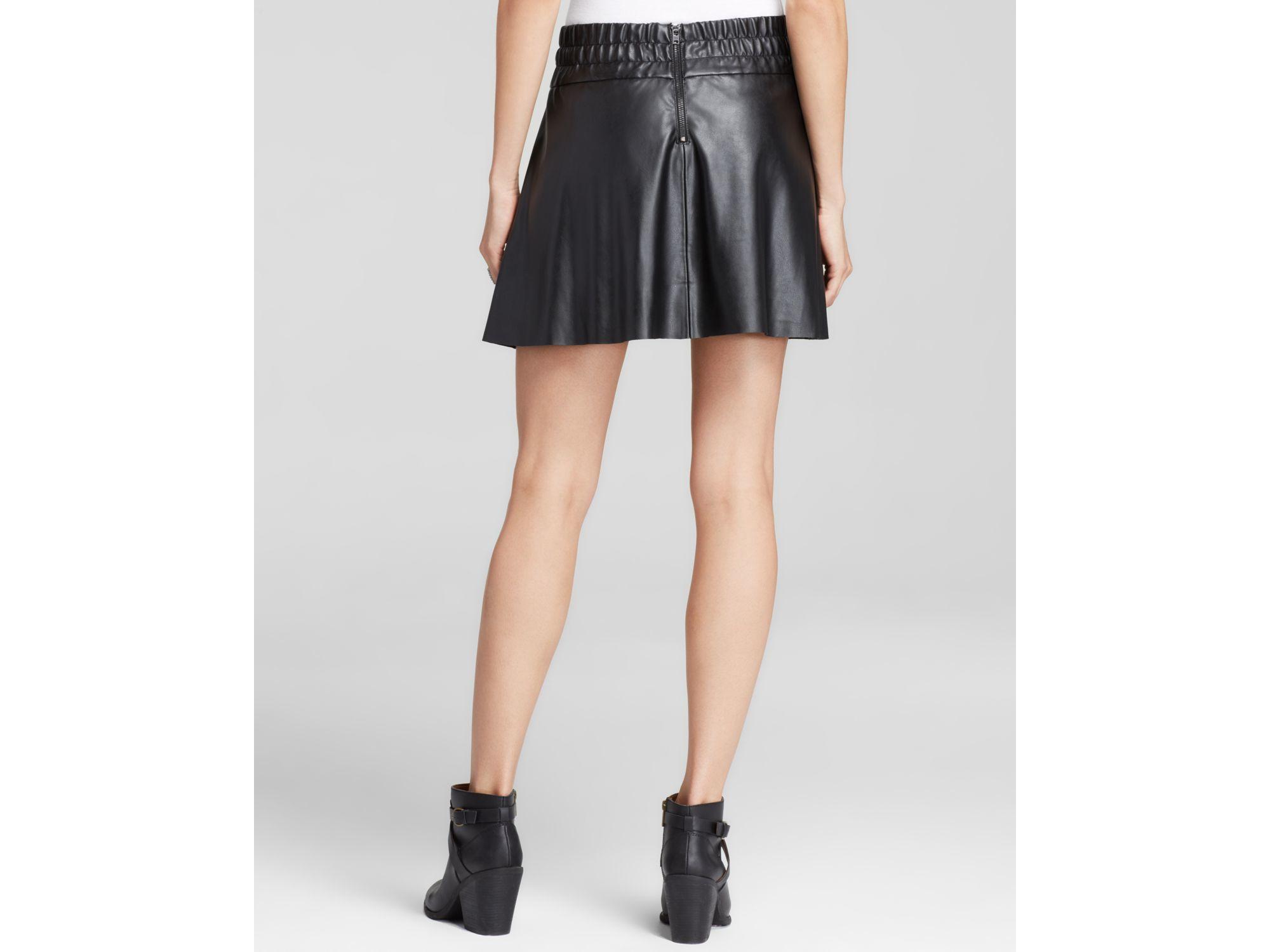 pam gela skirt faux leather high waist skater in black