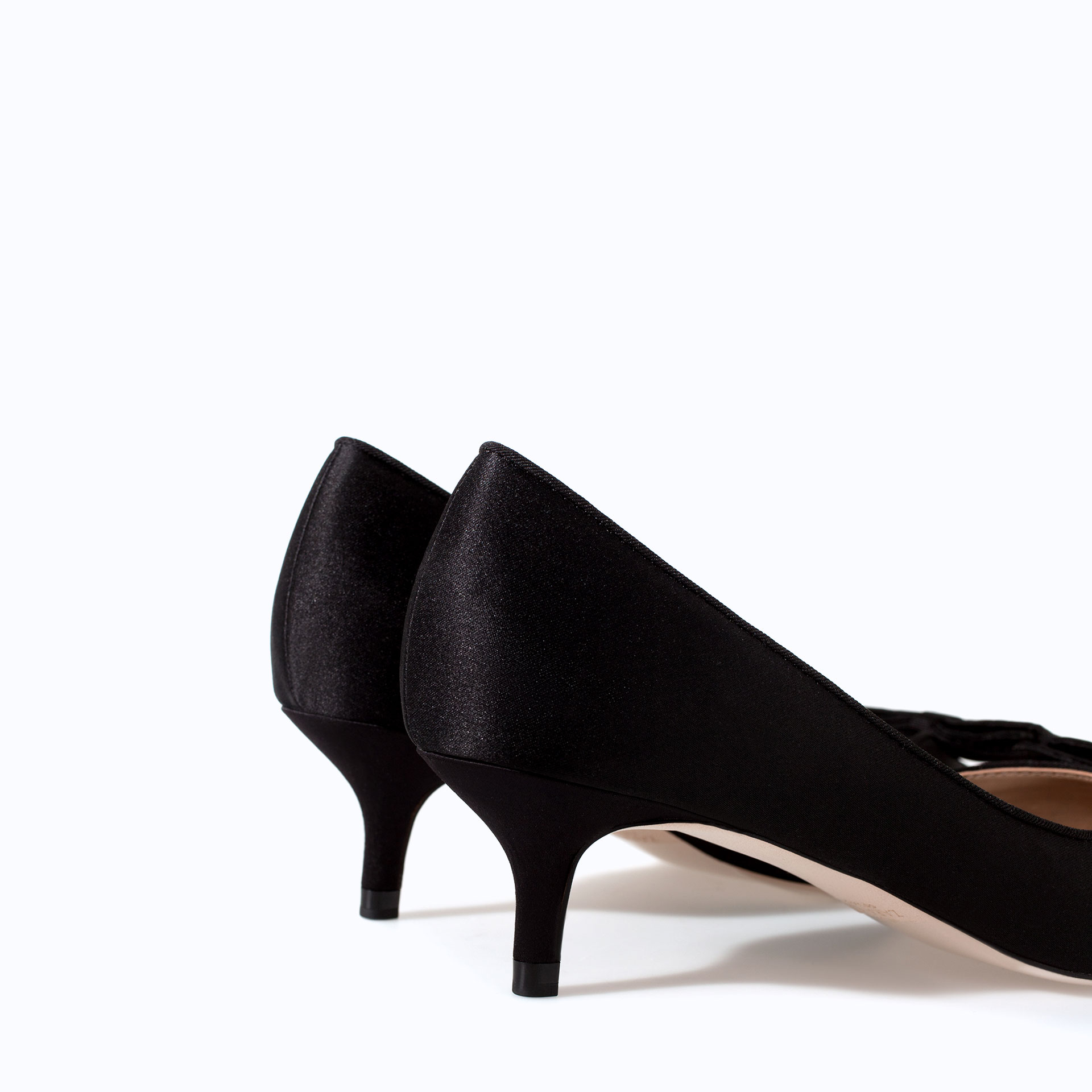 Zara Kitten Heel with Bow in Black | Lyst
