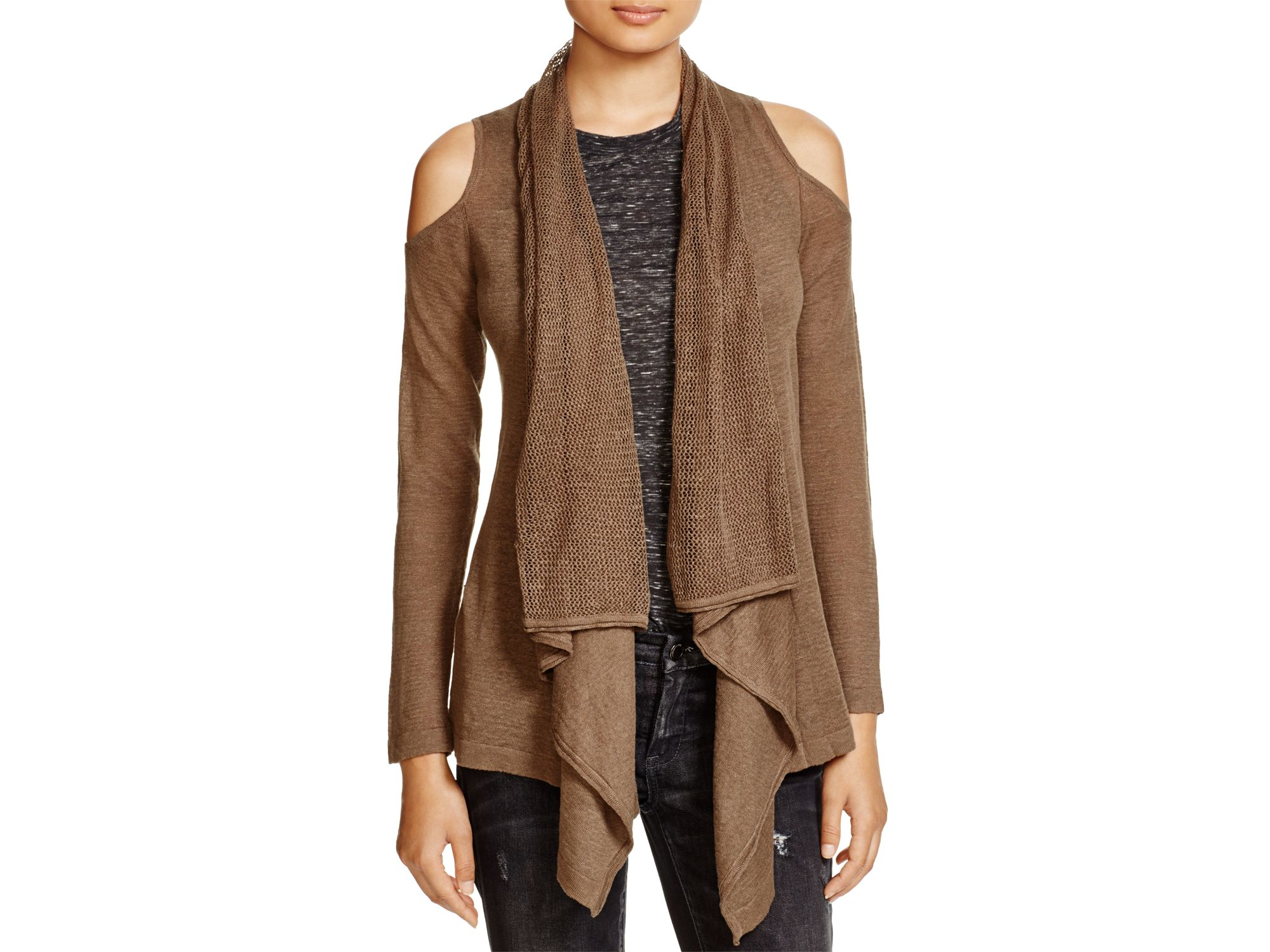 Moon & meadow Linen Open Cardigan in Brown | Lyst