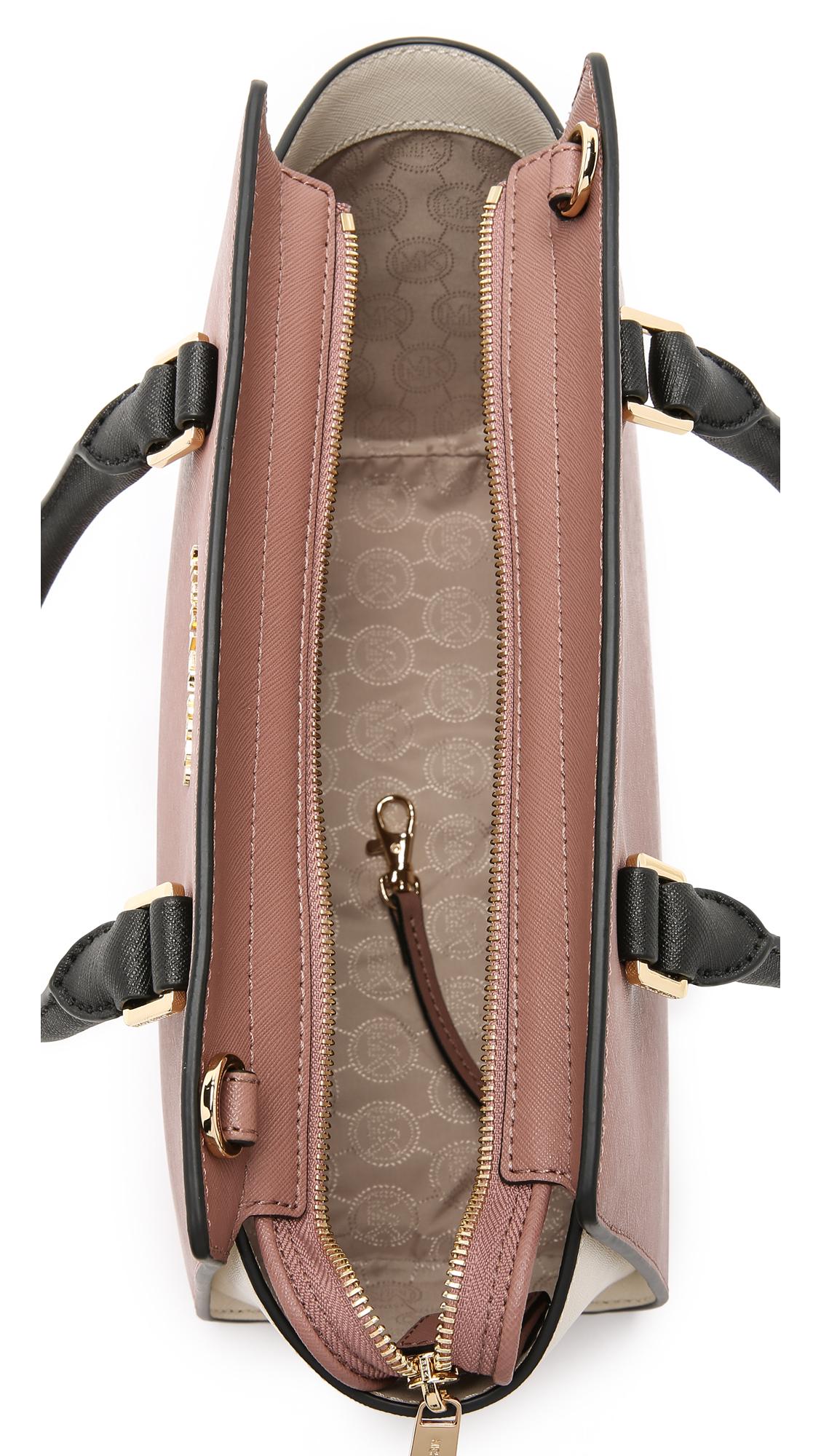 d260592c464e2 ... hot michael michael kors selma medium color blocked satchel in pink  lyst 6ec5f 69fec