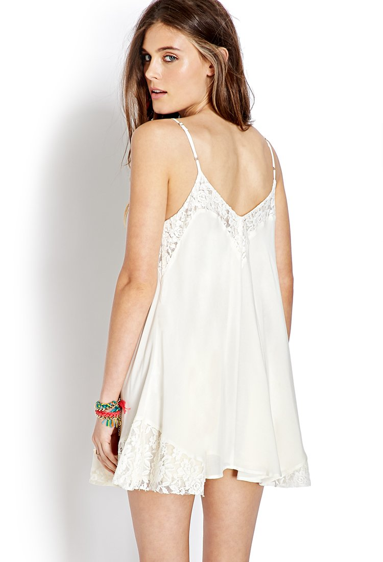 Forever 21 Lace Trim Slip Dress in White  Lyst