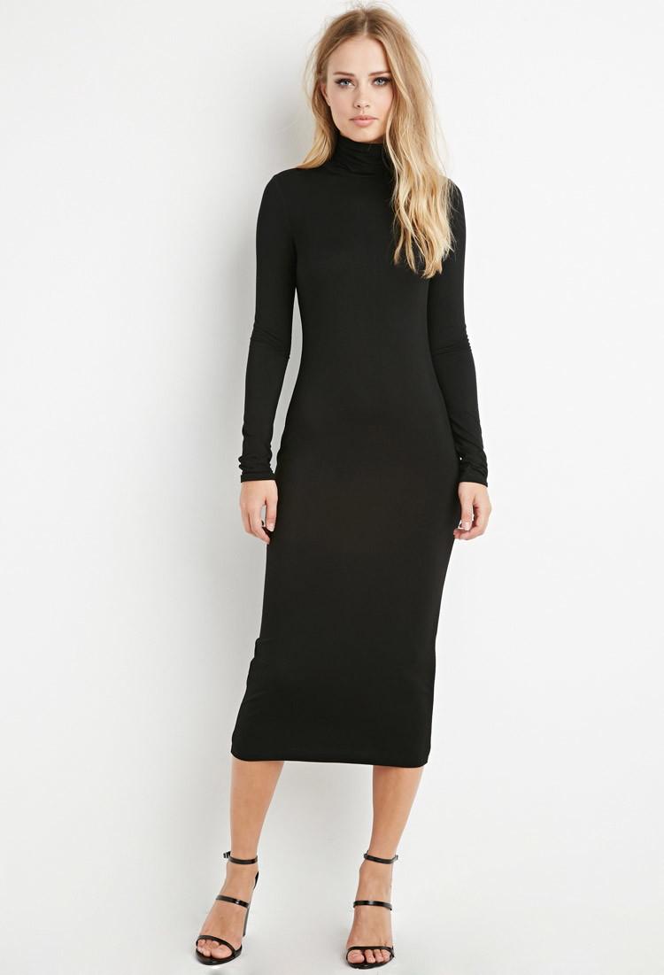 Forever 21 Turtleneck Midi Dress in Black | Lyst