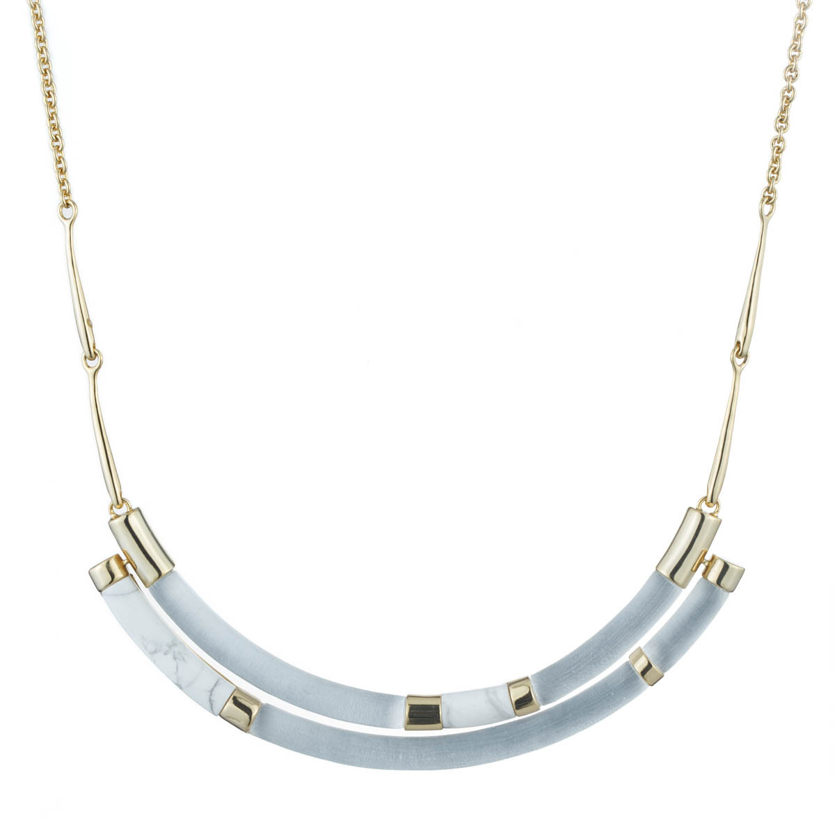 Alexis Bittar Druzy Stone Cluster Bib Necklace Silver A7TAO
