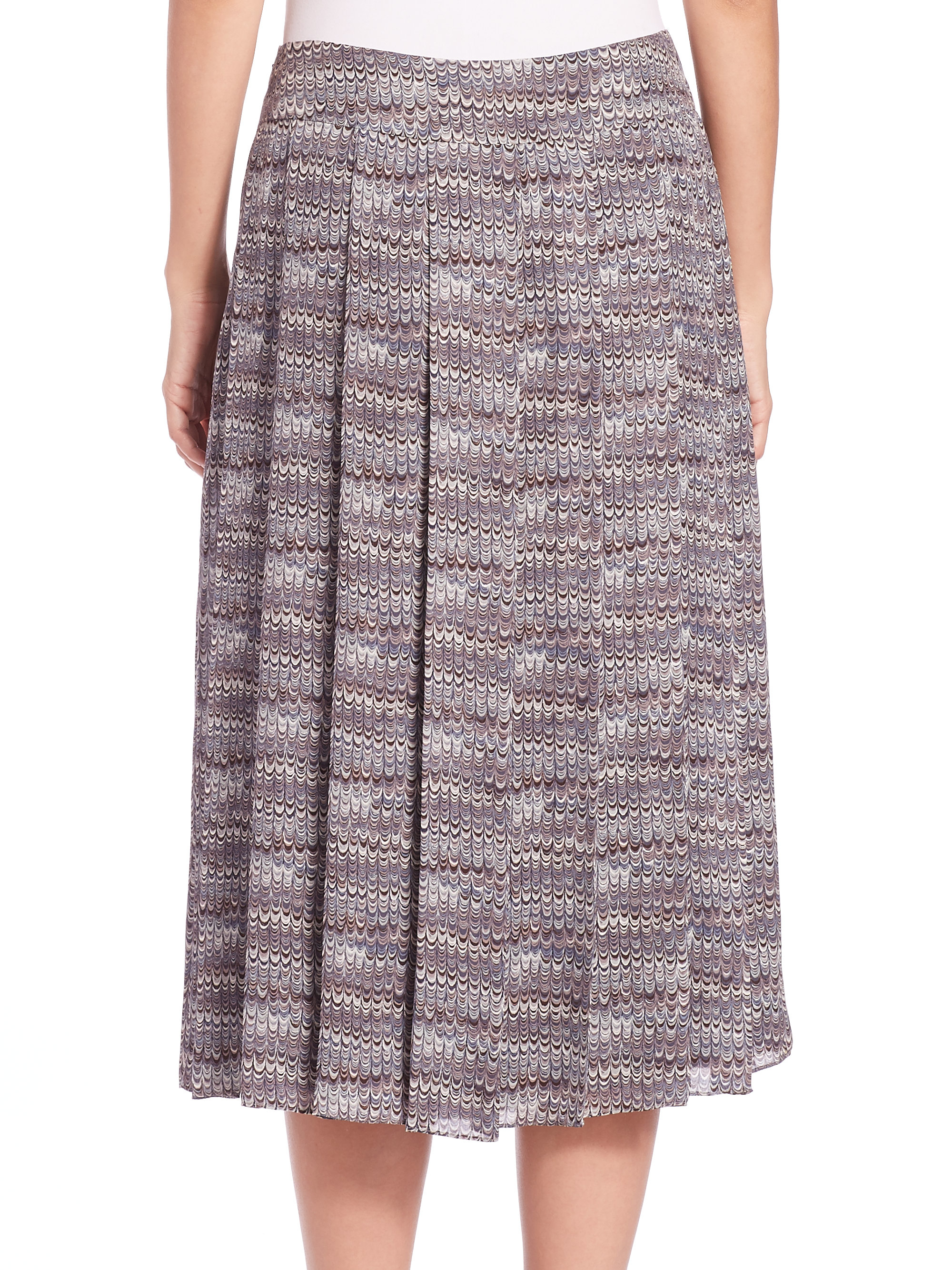 burch pleated marble print silk skirt in multicolor