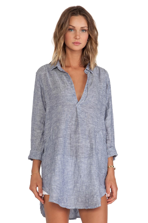 Lyst cp shades teton chambray tunic in blue for Womens denim tunic shirt