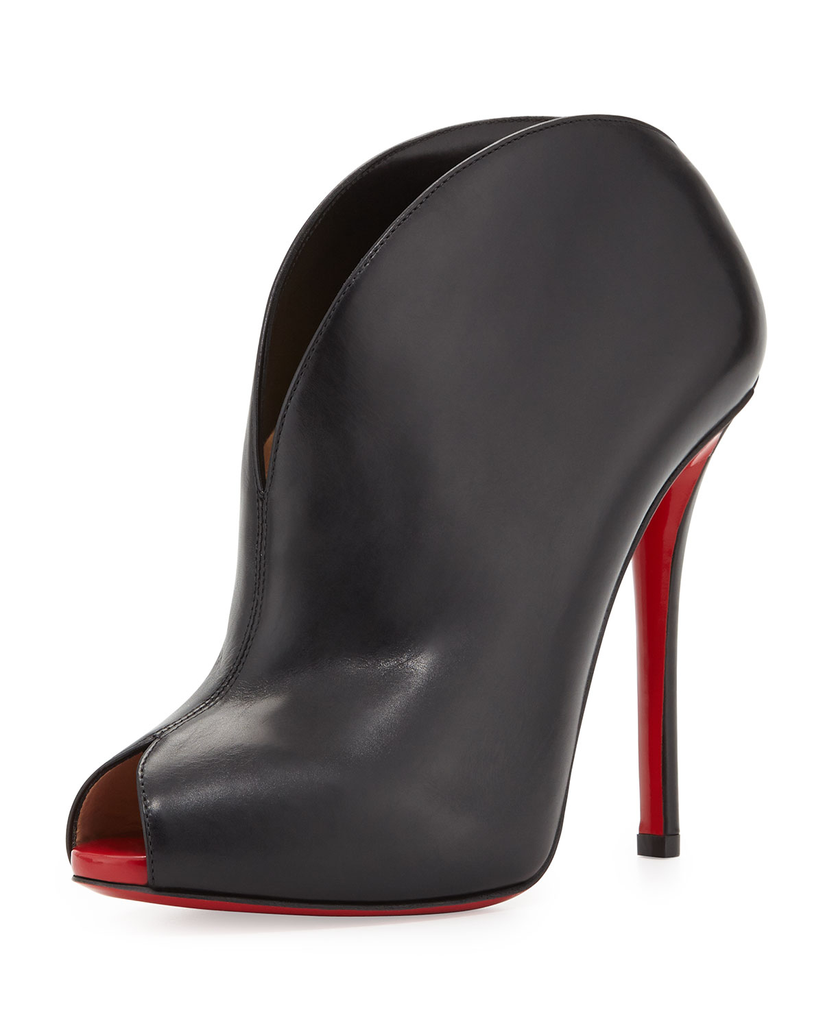reputable site e82d8 23b8e Christian Louboutin Black Chester Fille Peep-Toe Red Sole Bootie