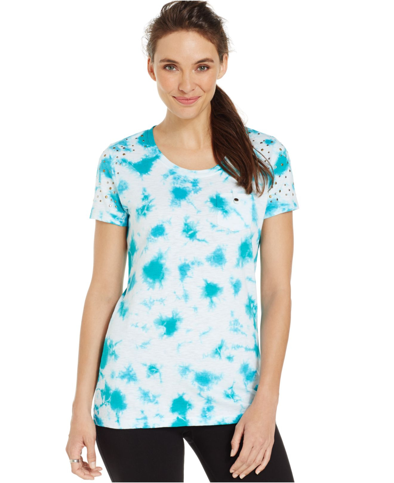 lyst style co sport petite embellished tie dyed tee in blue. Black Bedroom Furniture Sets. Home Design Ideas