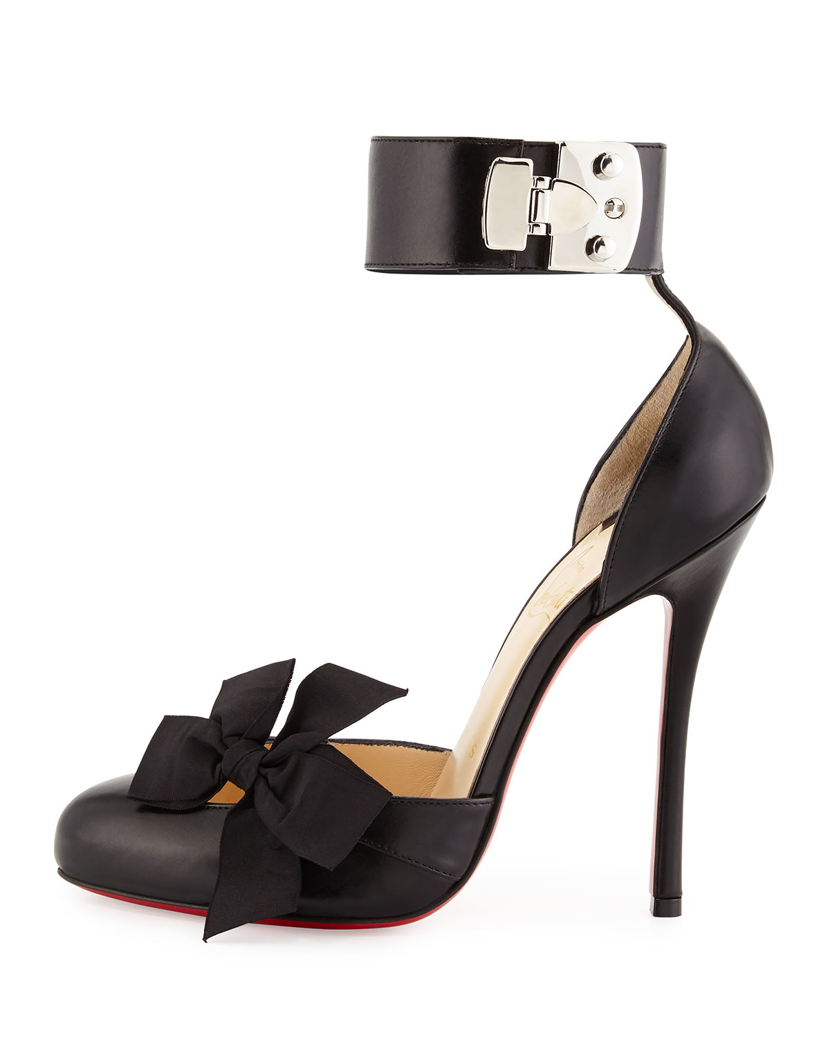 4a299df0666d Lyst - Christian Louboutin Fetish Bow D Orsay Leather Pumps in Black