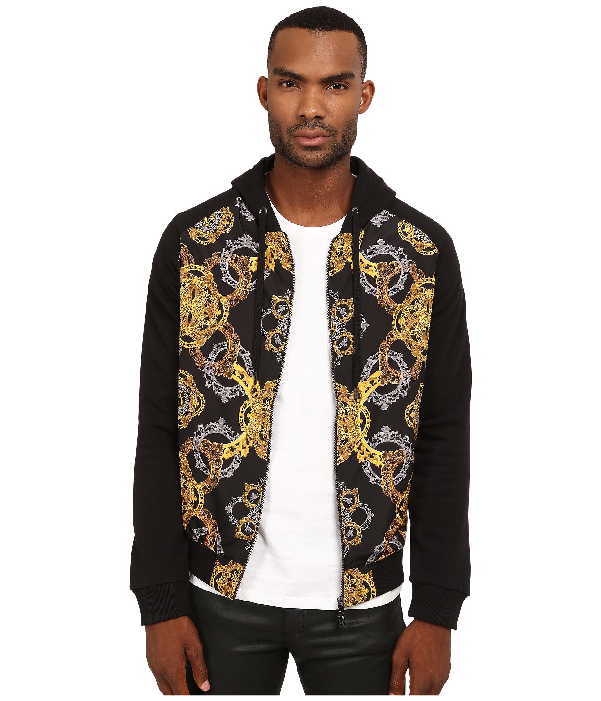 Versace Jeans Printed Zip Up Hoodie In Black For Men Lyst