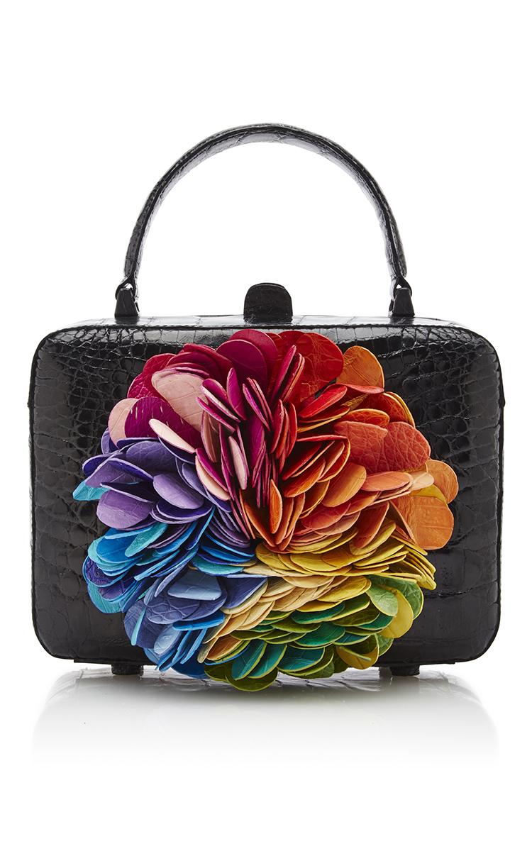 Lyst - Nancy Gonzalez Floral Kaleidoscope Black Clutch Bag In Black
