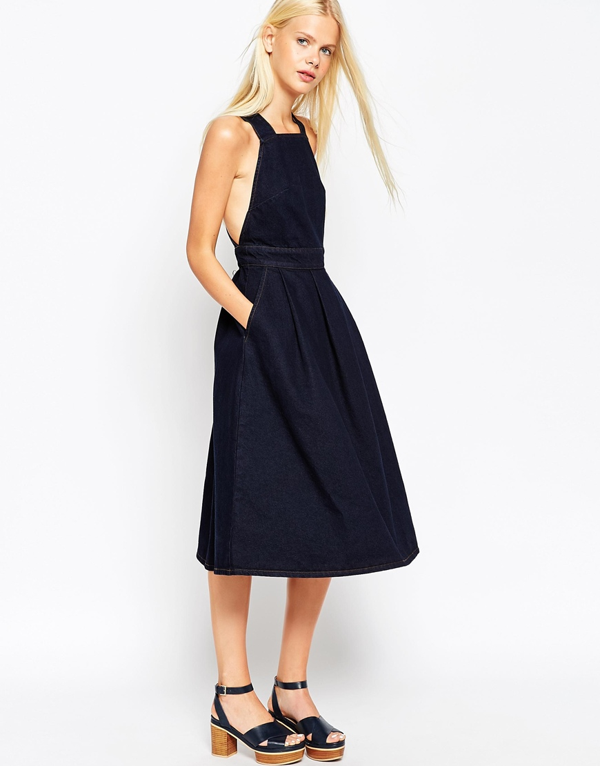 16ad9eae343 Lyst - ASOS Denim Cross Back Midi Dress In Dark Wash in Blue