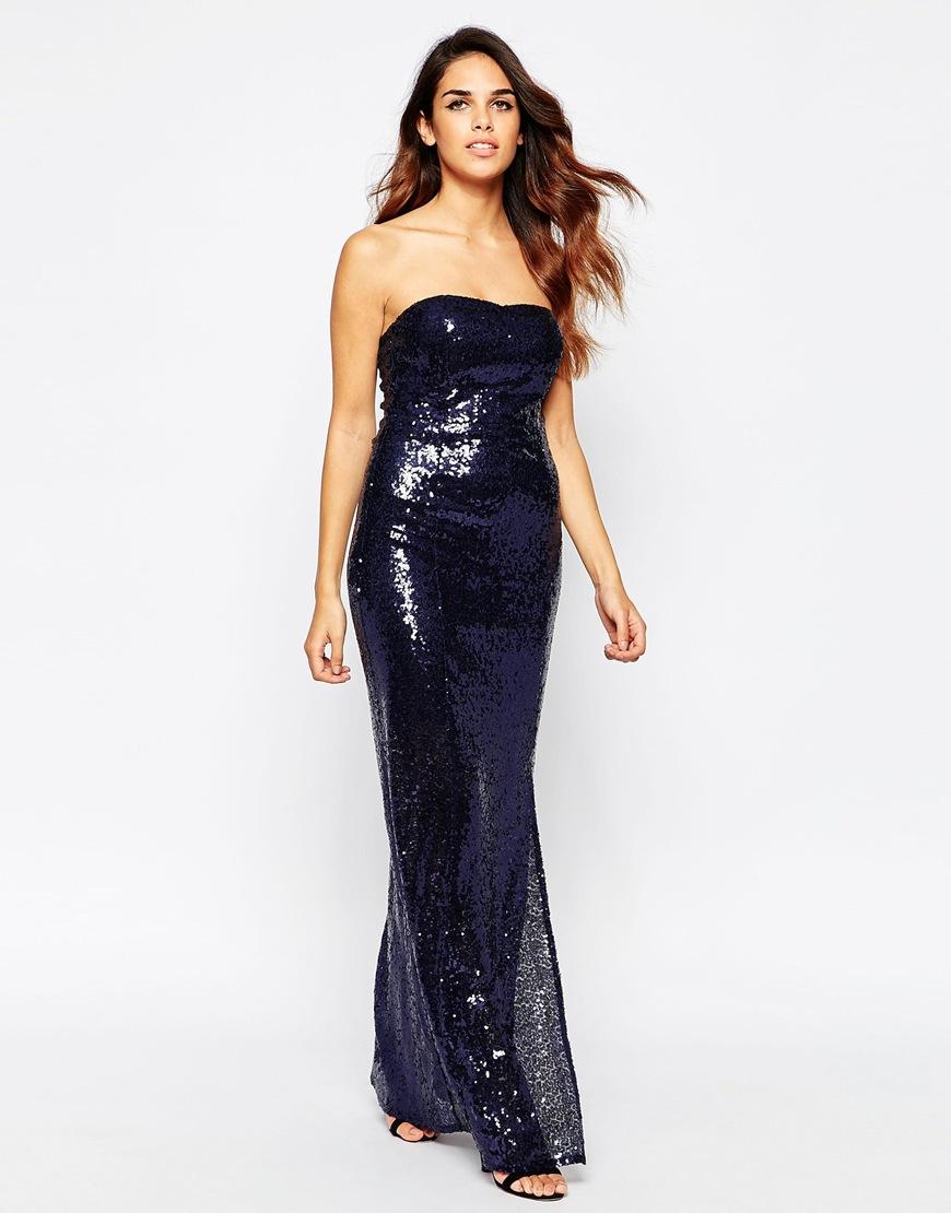 Silver sequin bandeau maxi dress