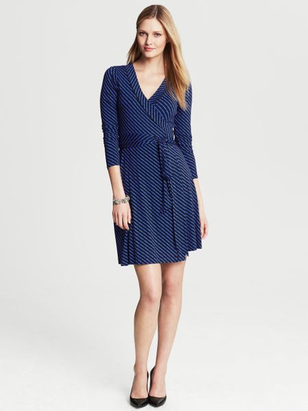 Banana Republic Gemma Geo Print Wrap Dress In Blue True