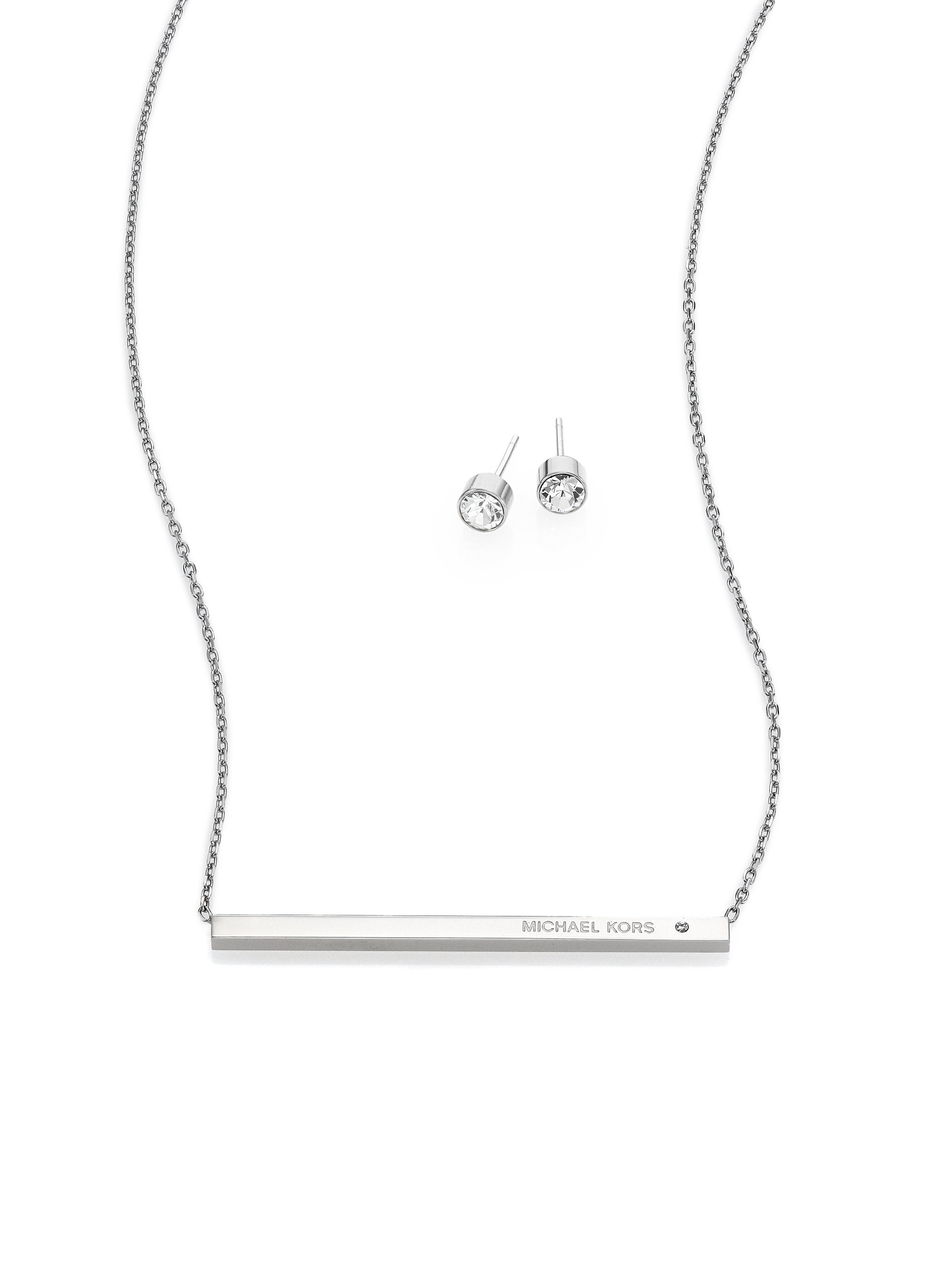 Lyst michael kors logo bar pendant necklace stud earrings set gallery mozeypictures Image collections
