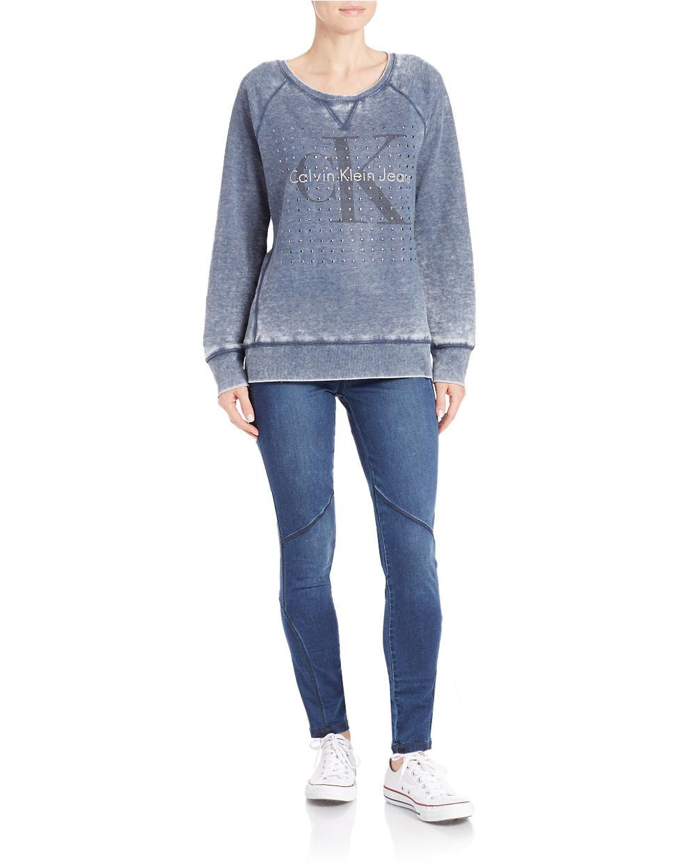 calvin klein jeans studded distressed raglan sweatshirt in. Black Bedroom Furniture Sets. Home Design Ideas