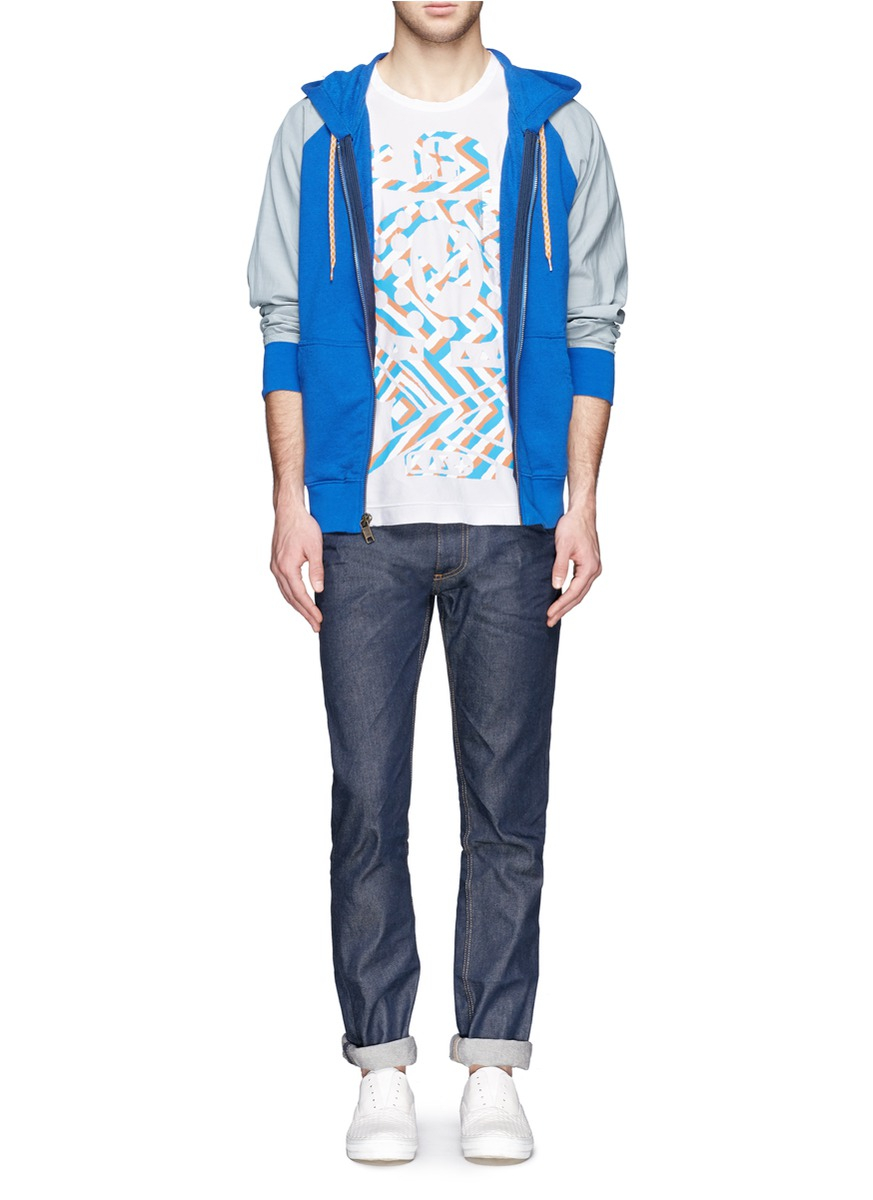 Marc jacobs printed cotton silk t shirt in blue for men lyst for Cotton silk tee shirts