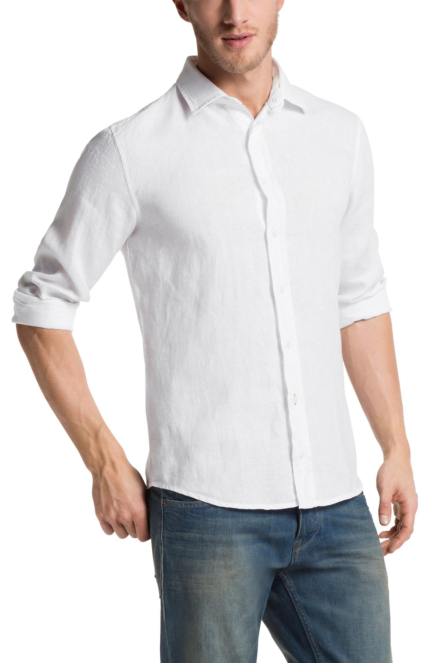 Boss orange extremee slim fit linen button down shirt for Slim fit white linen shirt