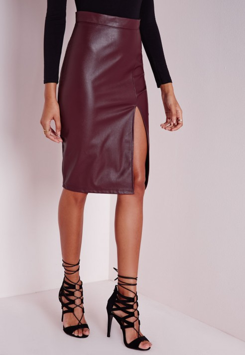 Missguided Faux Leather Split Midi Skirt Burgundy in Purple | Lyst