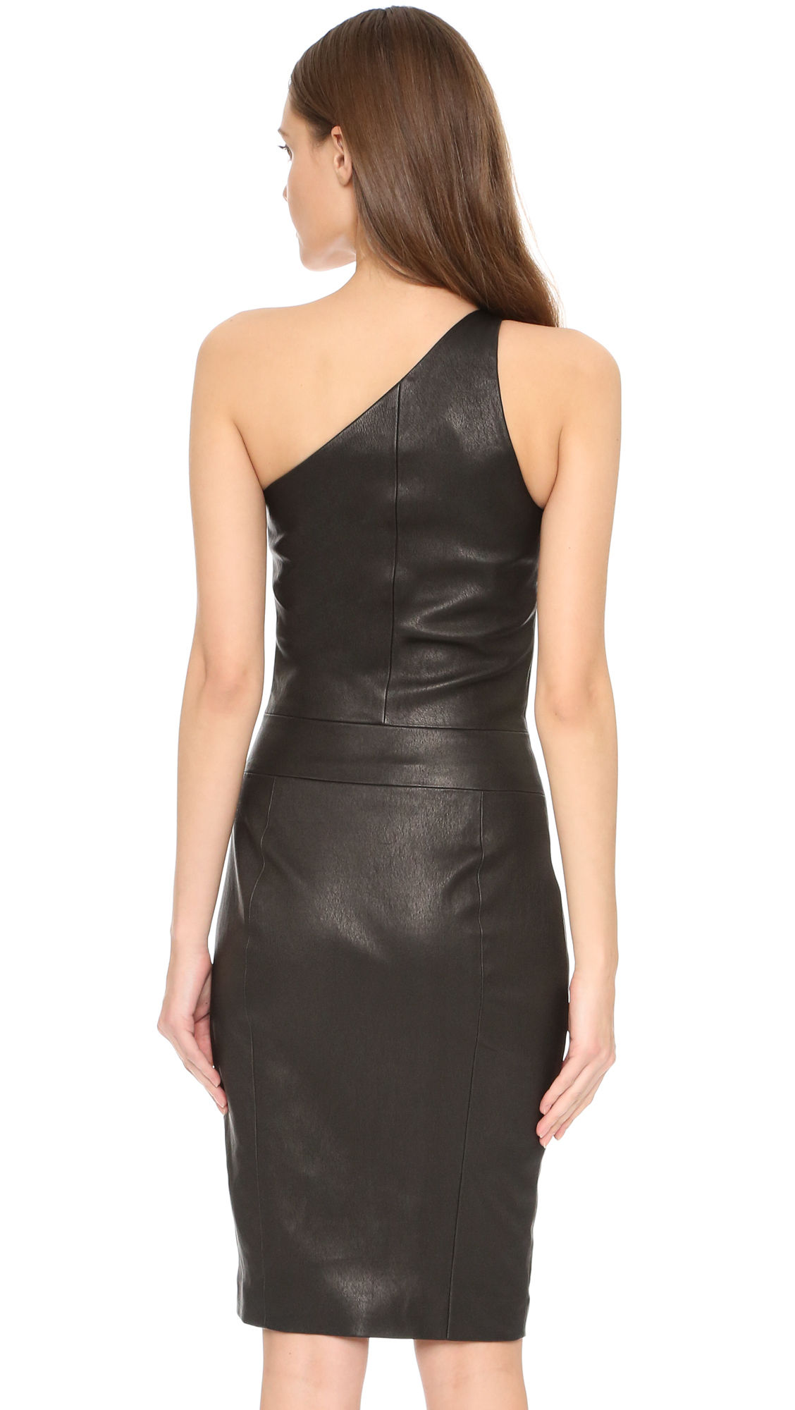 Lyst Narciso Rodriguez One Shoulder Leather Dress In Black