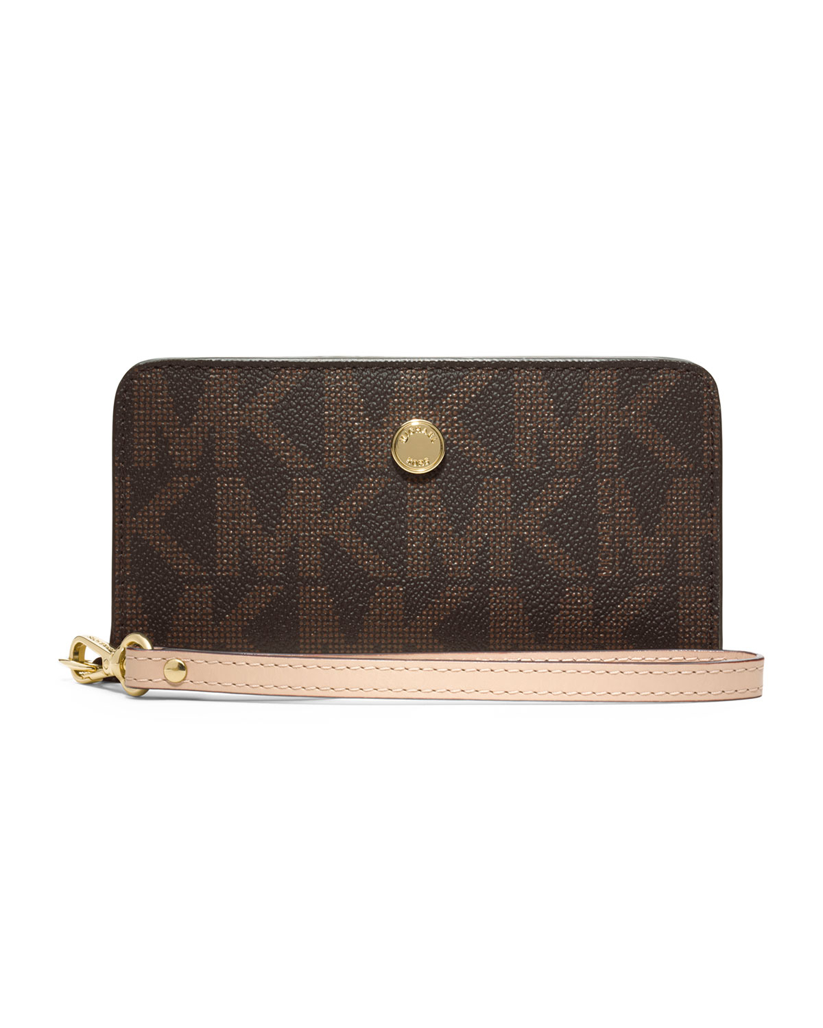 Michael Kors Michael Signature Slim Tech Wristlet In Brown
