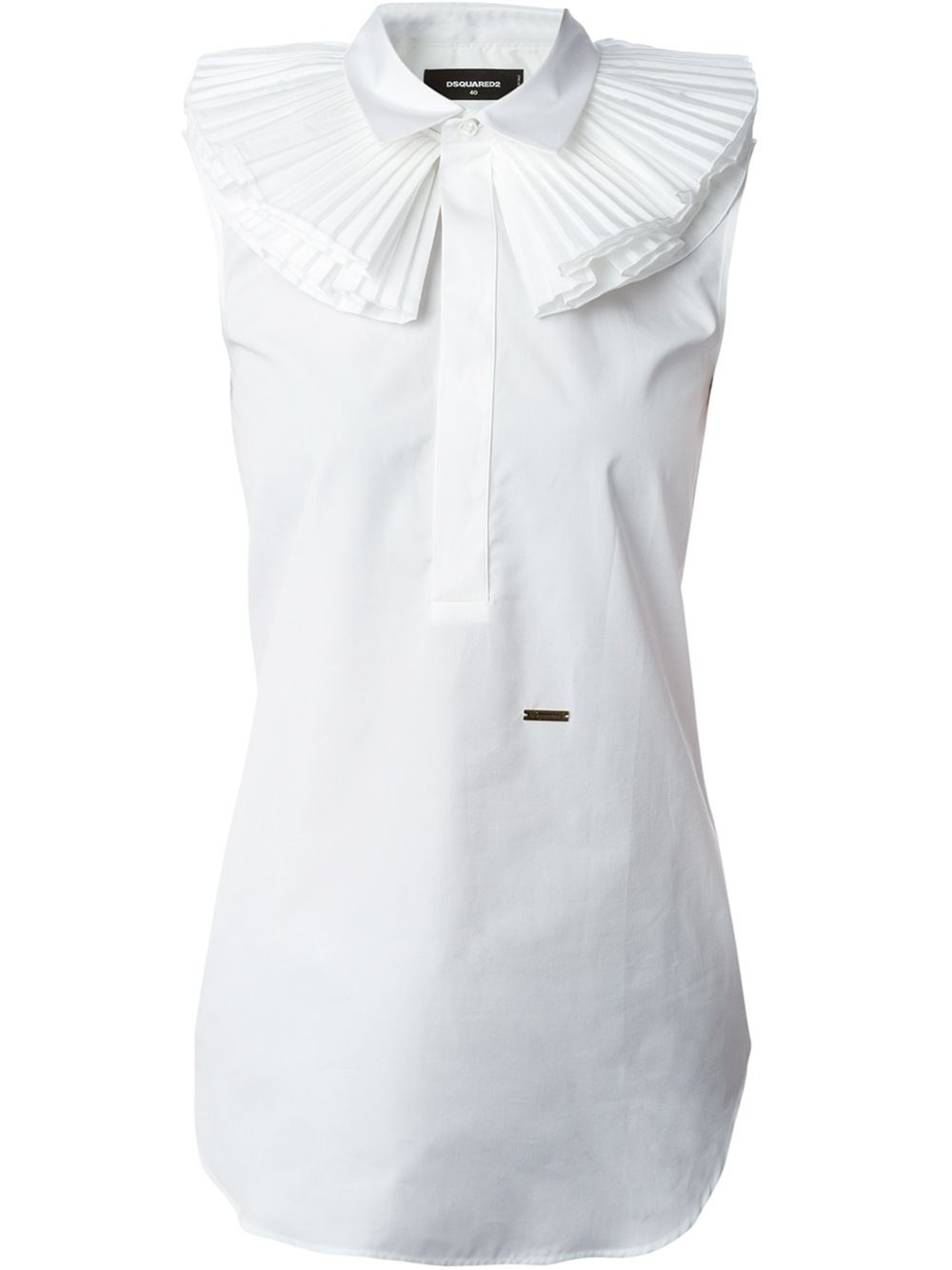 01f2e952b2a115 DSquared² Ruffle Collar Sleeveless Top in White - Lyst