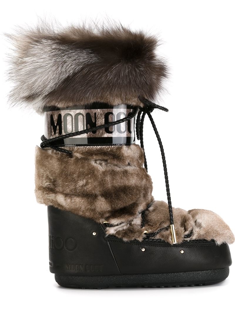 Lyst Jimmy Choo Fox And Rabbit Fur Moon Boots In Brown