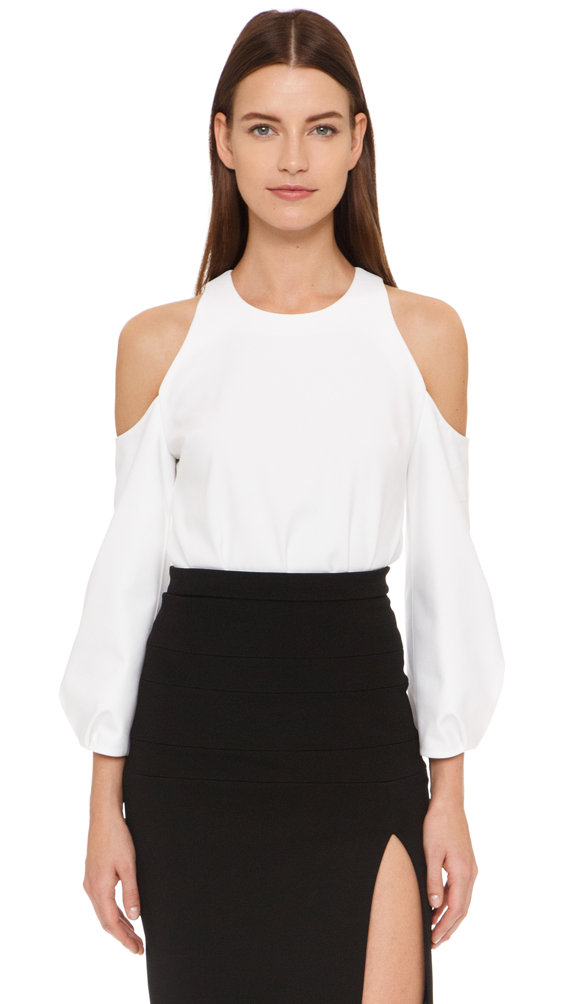 cushnie et ochs cold shoulder blouse in white lyst. Black Bedroom Furniture Sets. Home Design Ideas