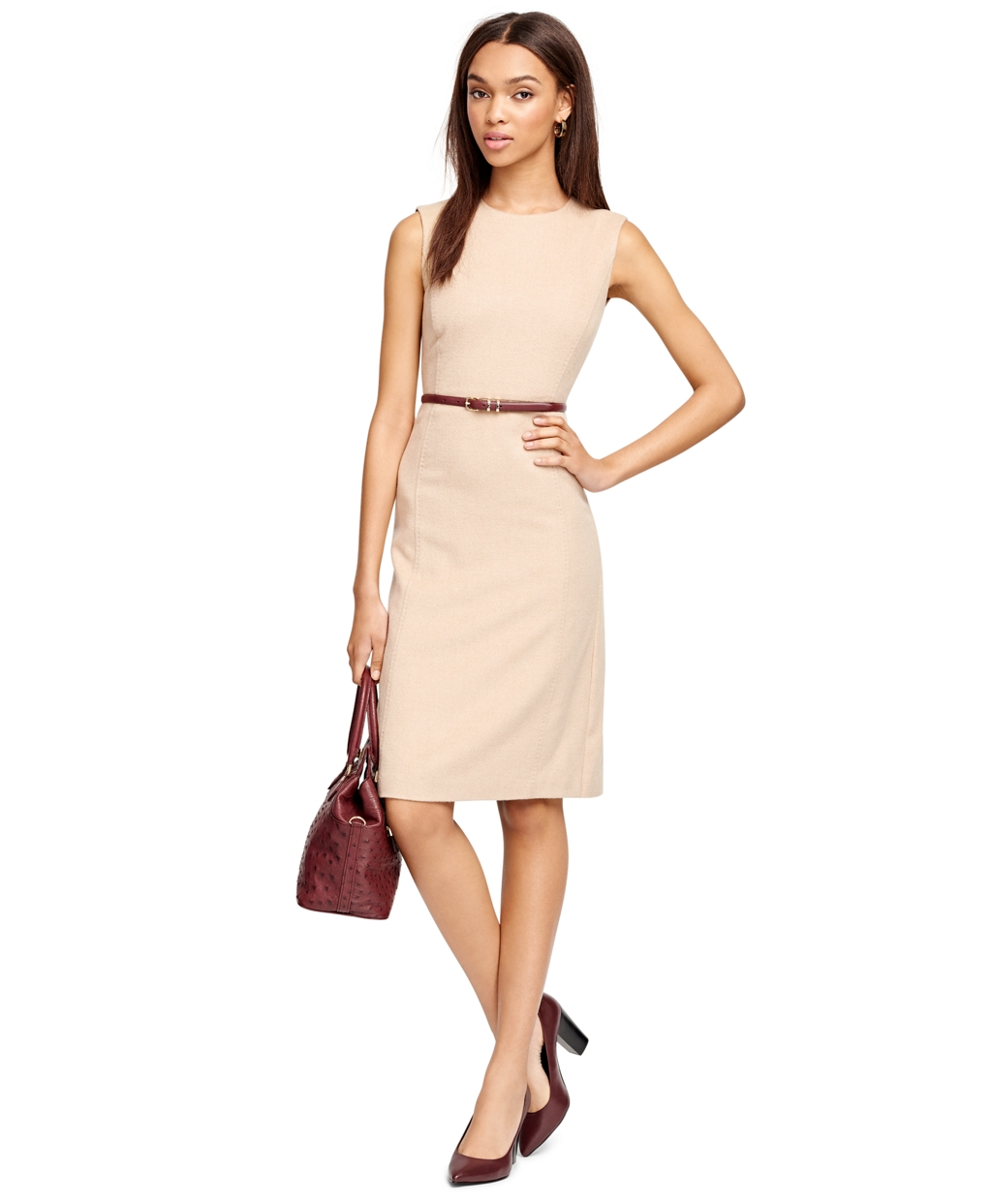 180d5cec1a3c2 Lyst - Brooks Brothers Camel Hair Sleeveless Dress in Natural
