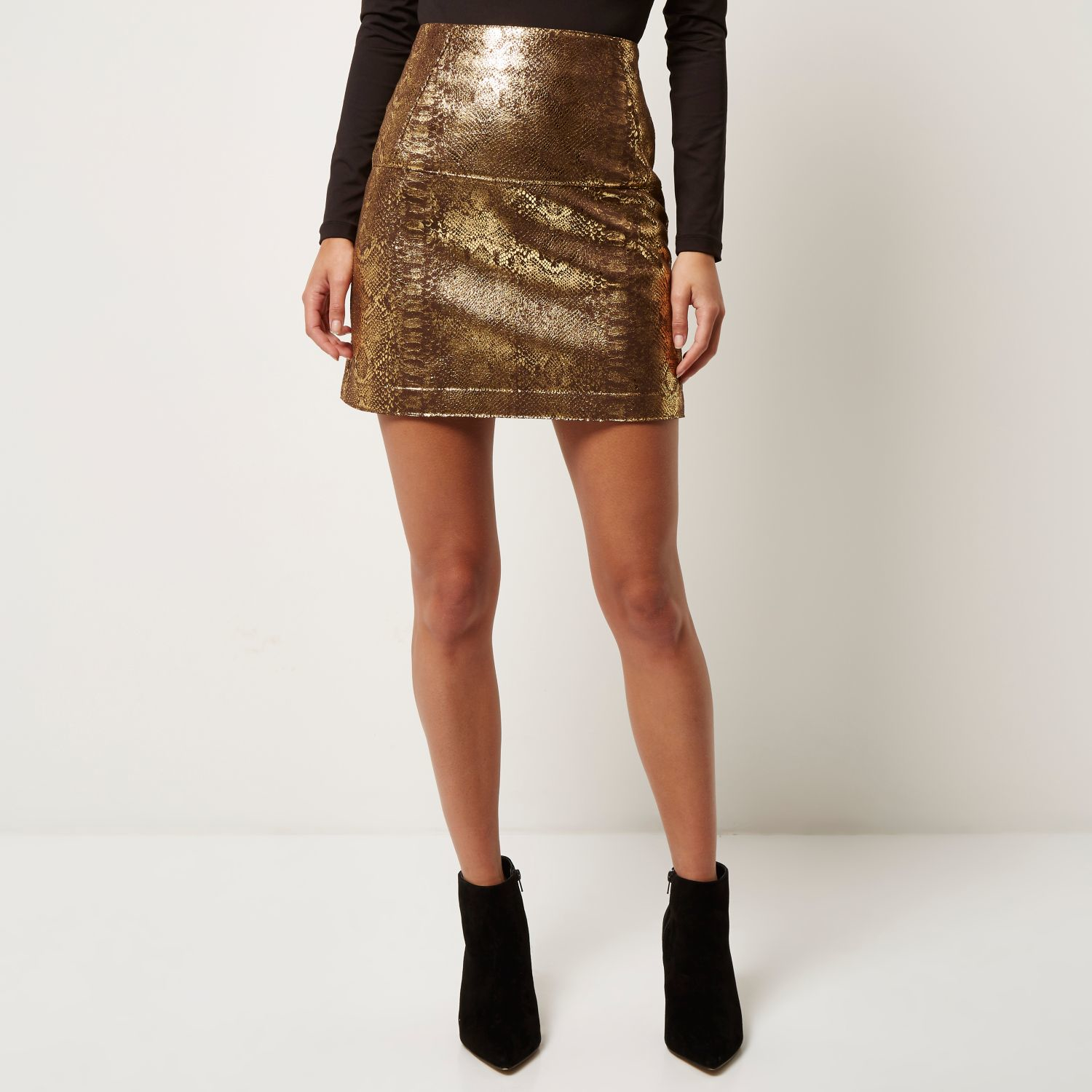 river island gold snake print a line skirt in metallic lyst