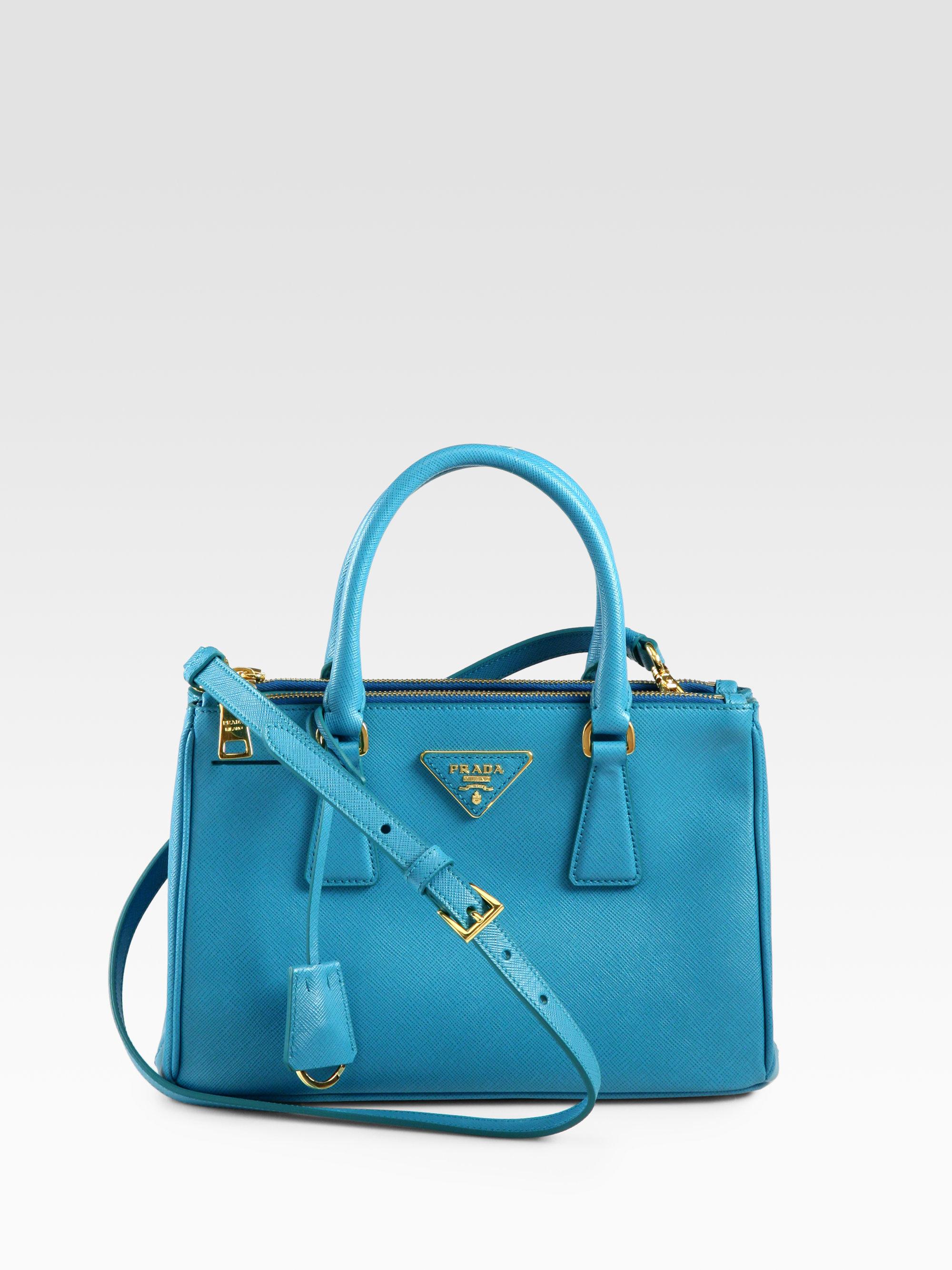 Prada Saffiano Lux Small Double-zip Tote in Blue (TURCHESE) | Lyst - Prada tote baltic blue