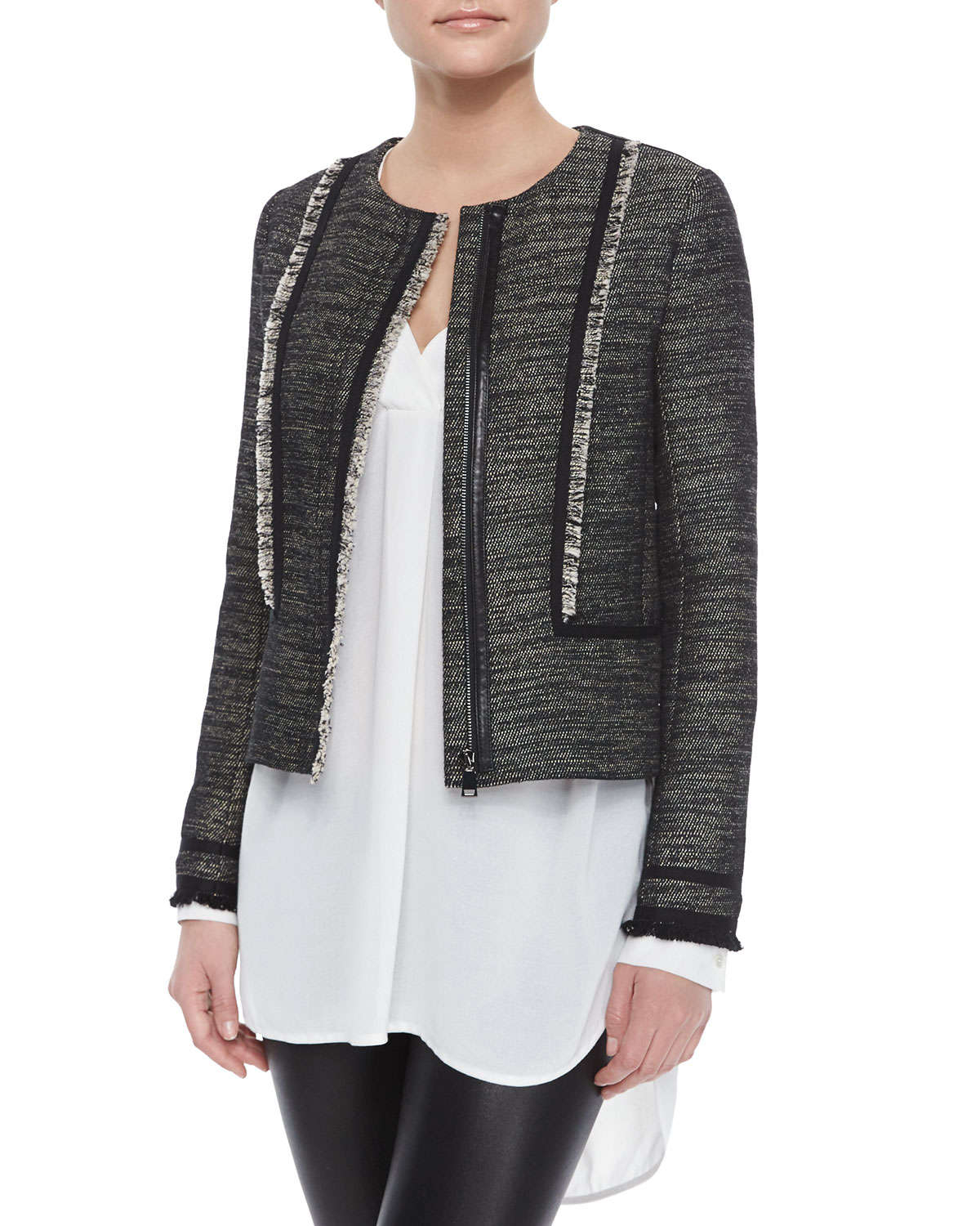 Vince Fringe Trim Boucle Jacket In Black Lyst